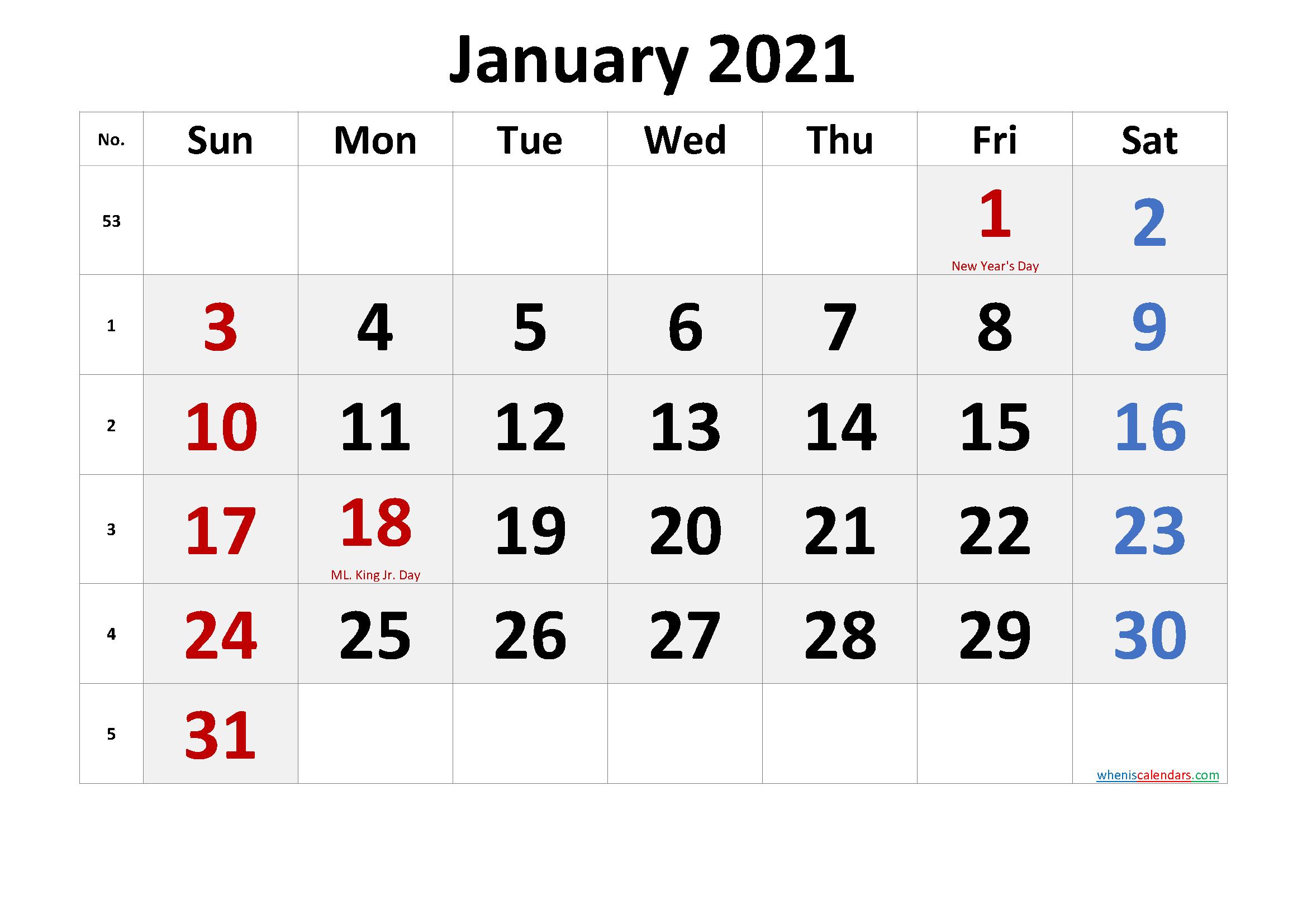 Free Printable January 2021 Calendar