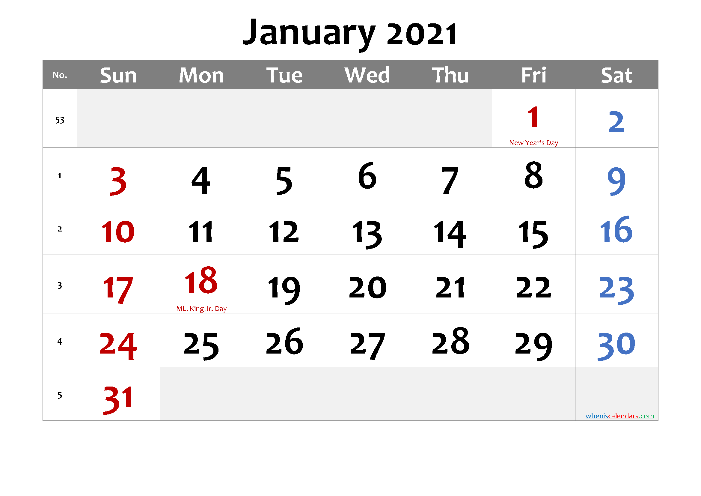 Printable January 2021 Calendar Word