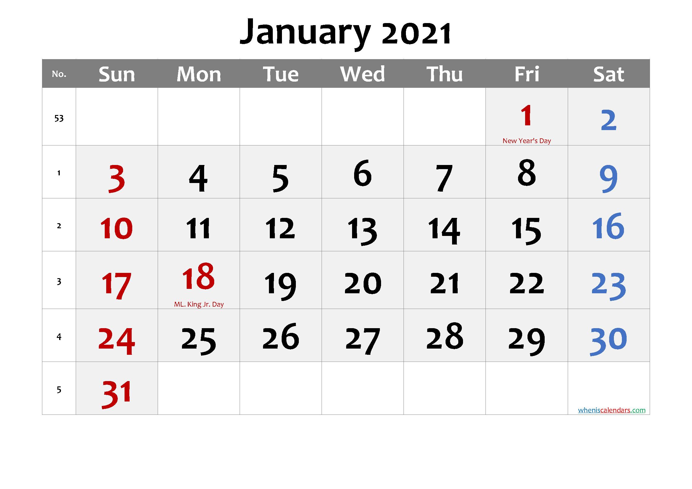 January 2021 Calendar with Holidays Printable