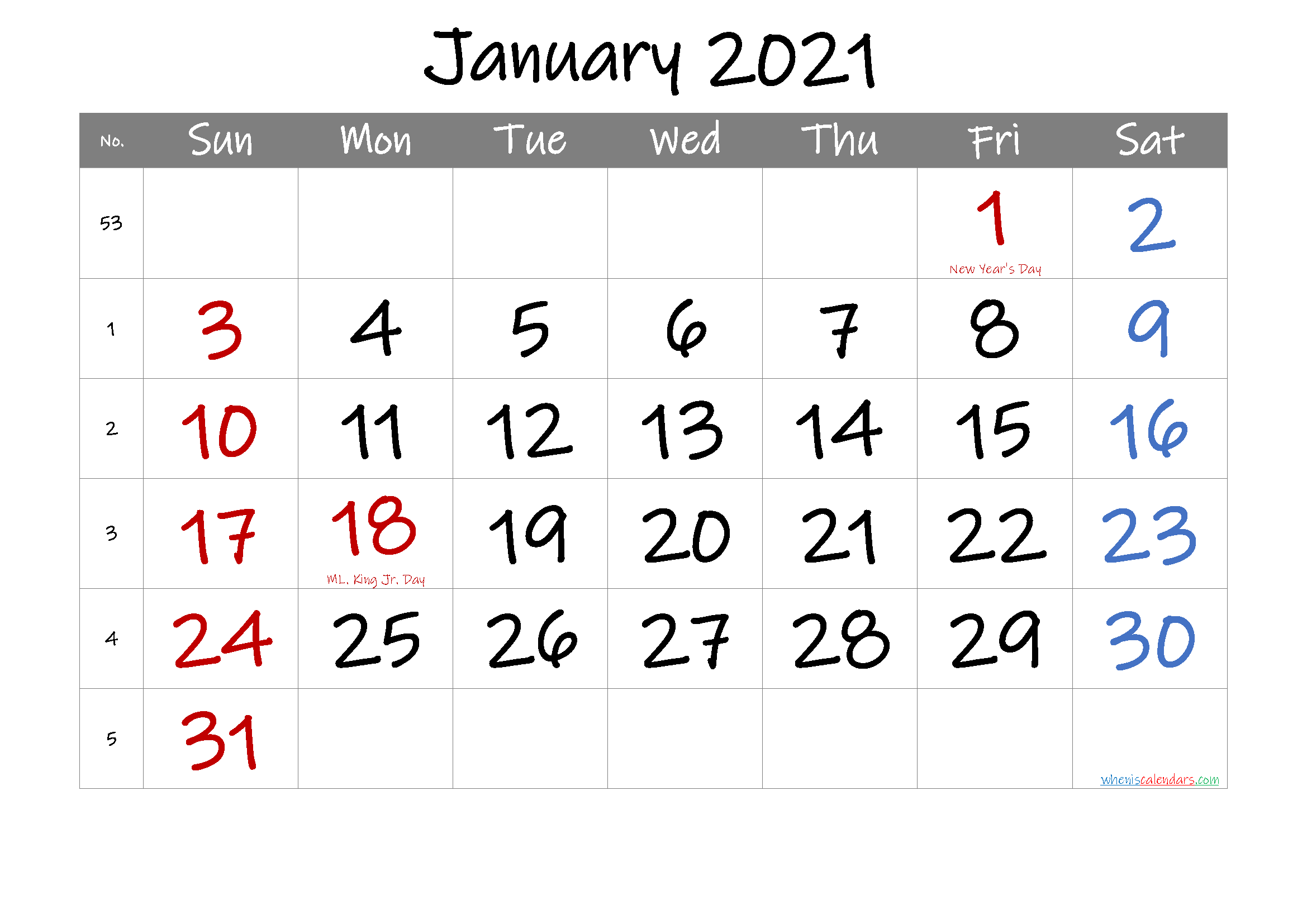 Free January 2021 Printable Calendar with Holidays