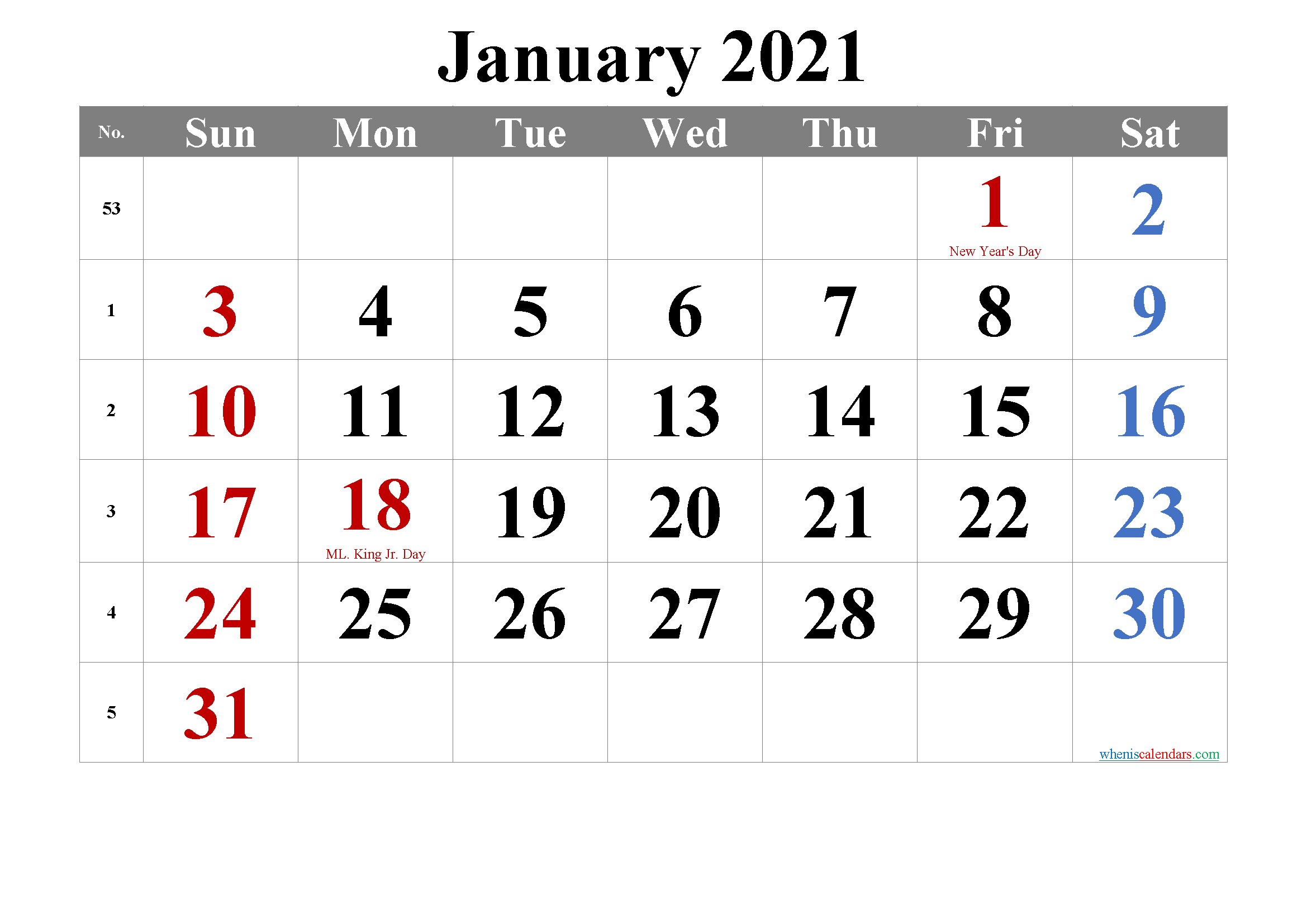 January 2021 Calendar with Holidays Printable
