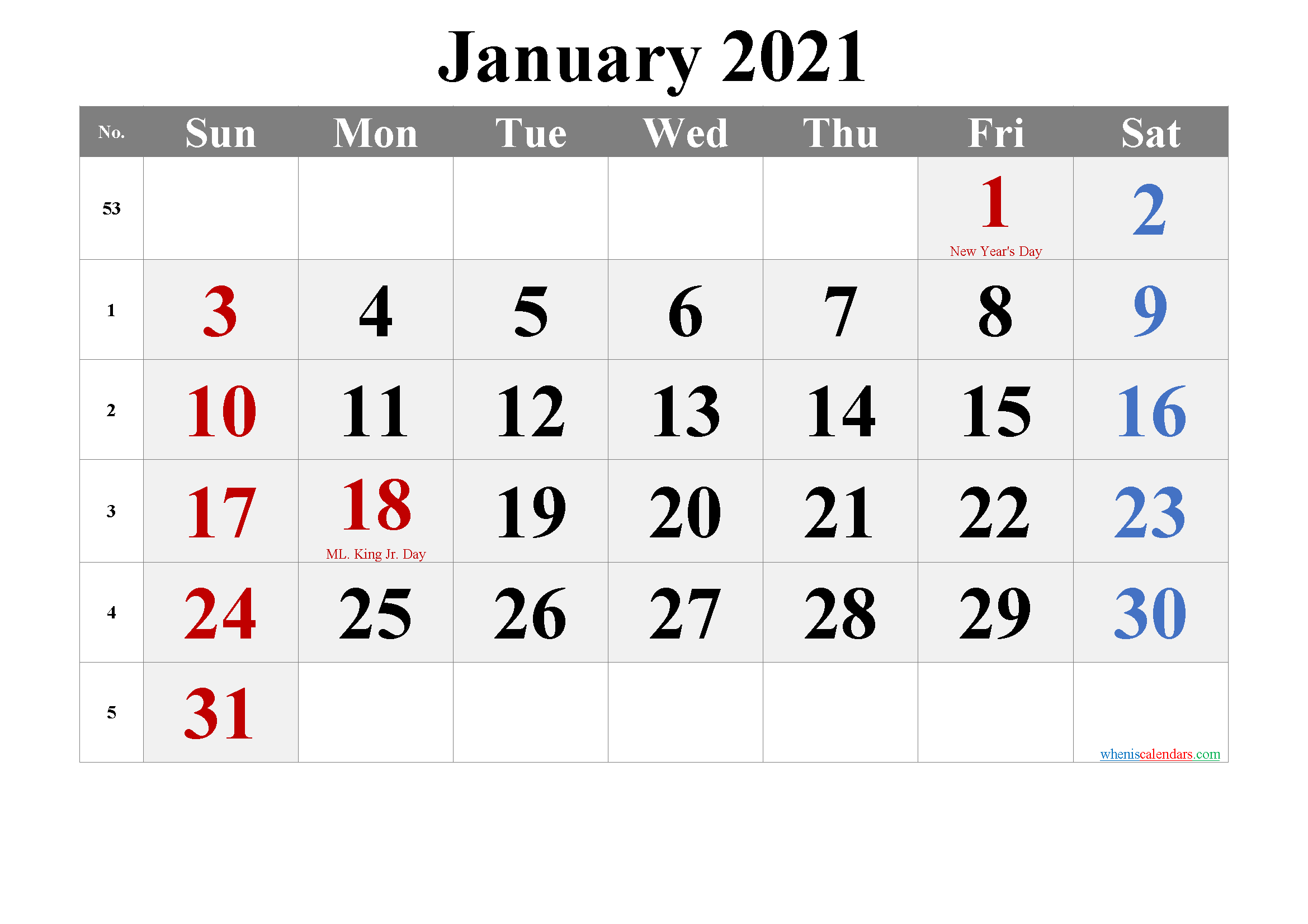 JANUARY 2021 Printable Calendar with Holidays