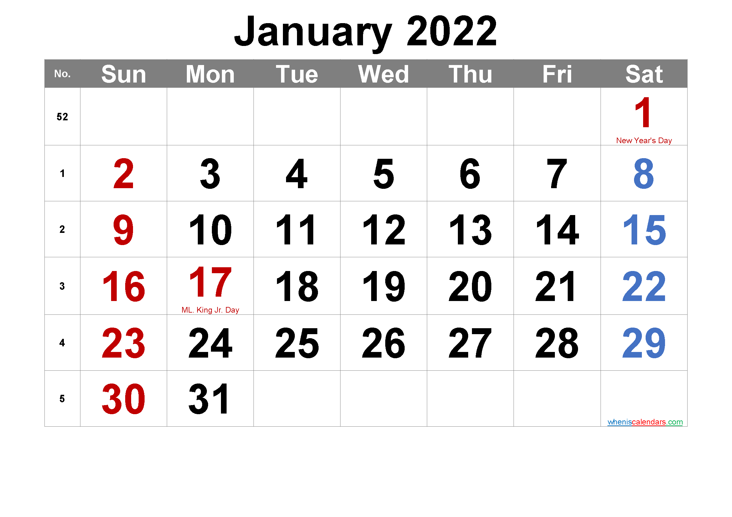 Editable January 2022 Calendar with Holidays
