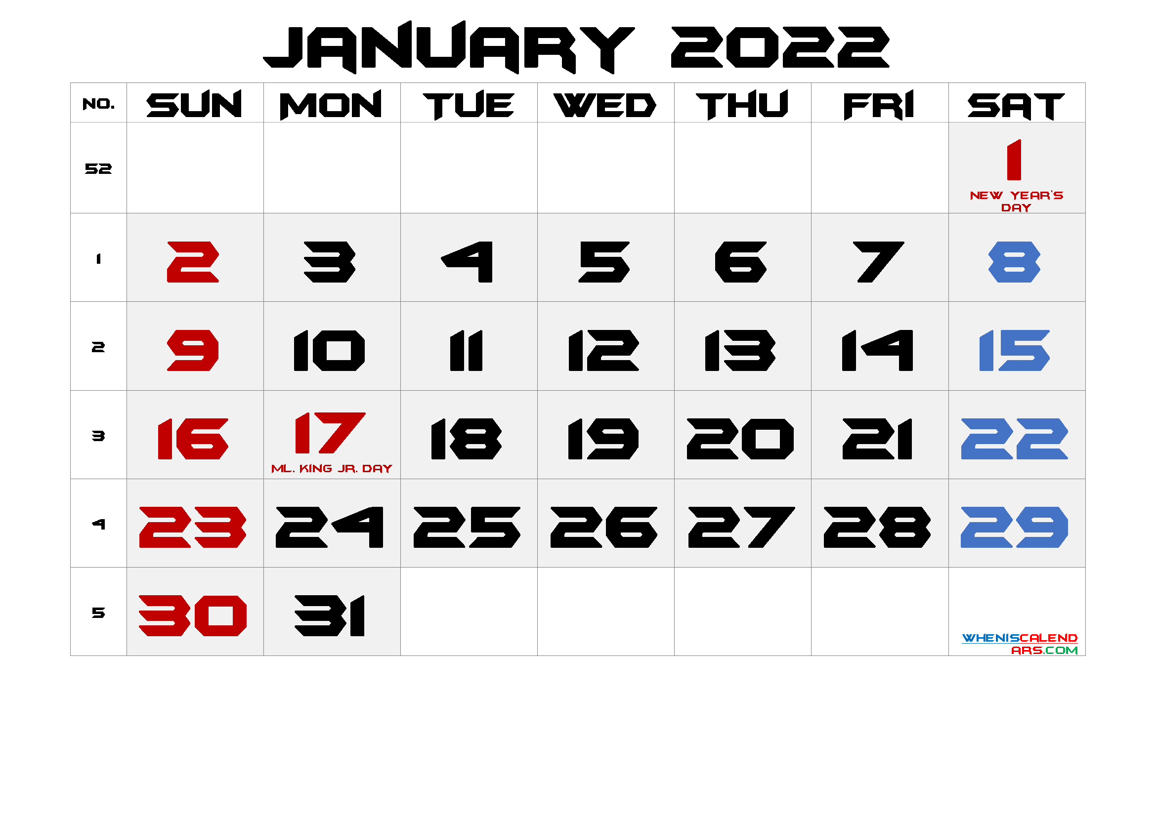 Free Printable JANUARY 2022 Calendar with Holidays