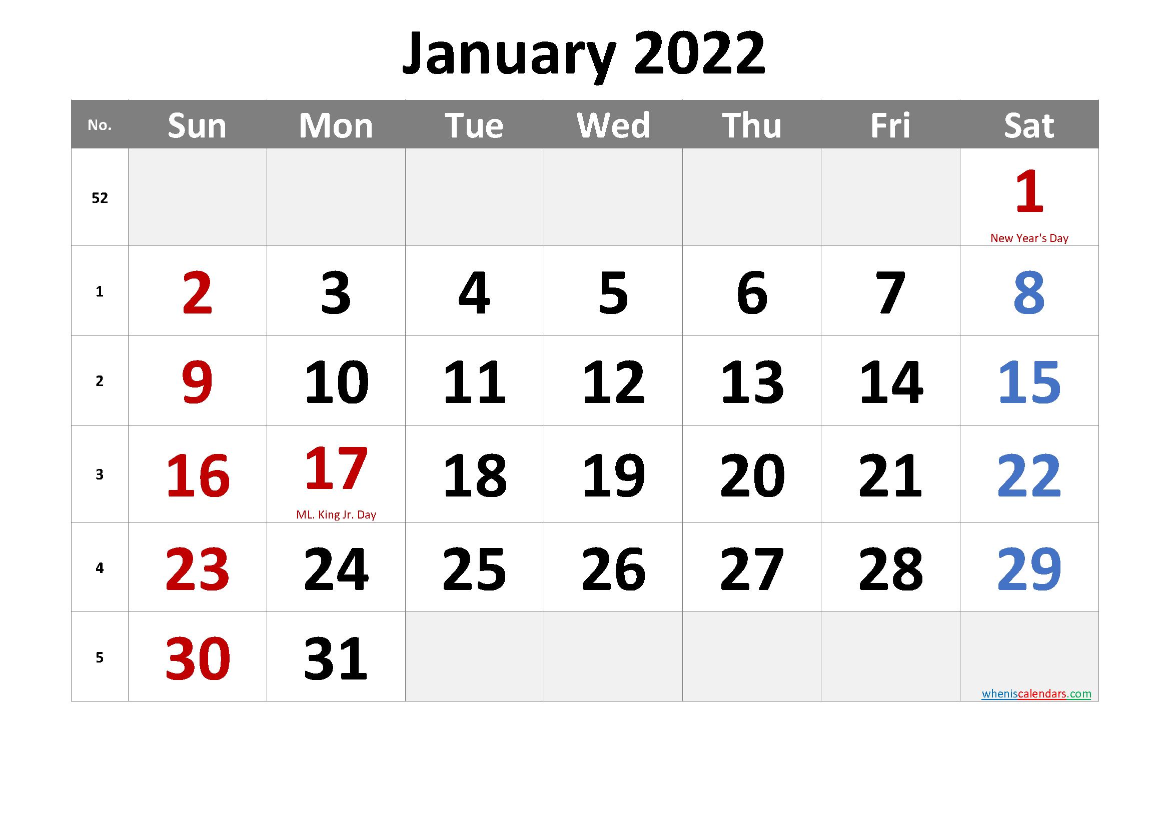 Free Printable JANUARY 2022 Calendar with Holidays