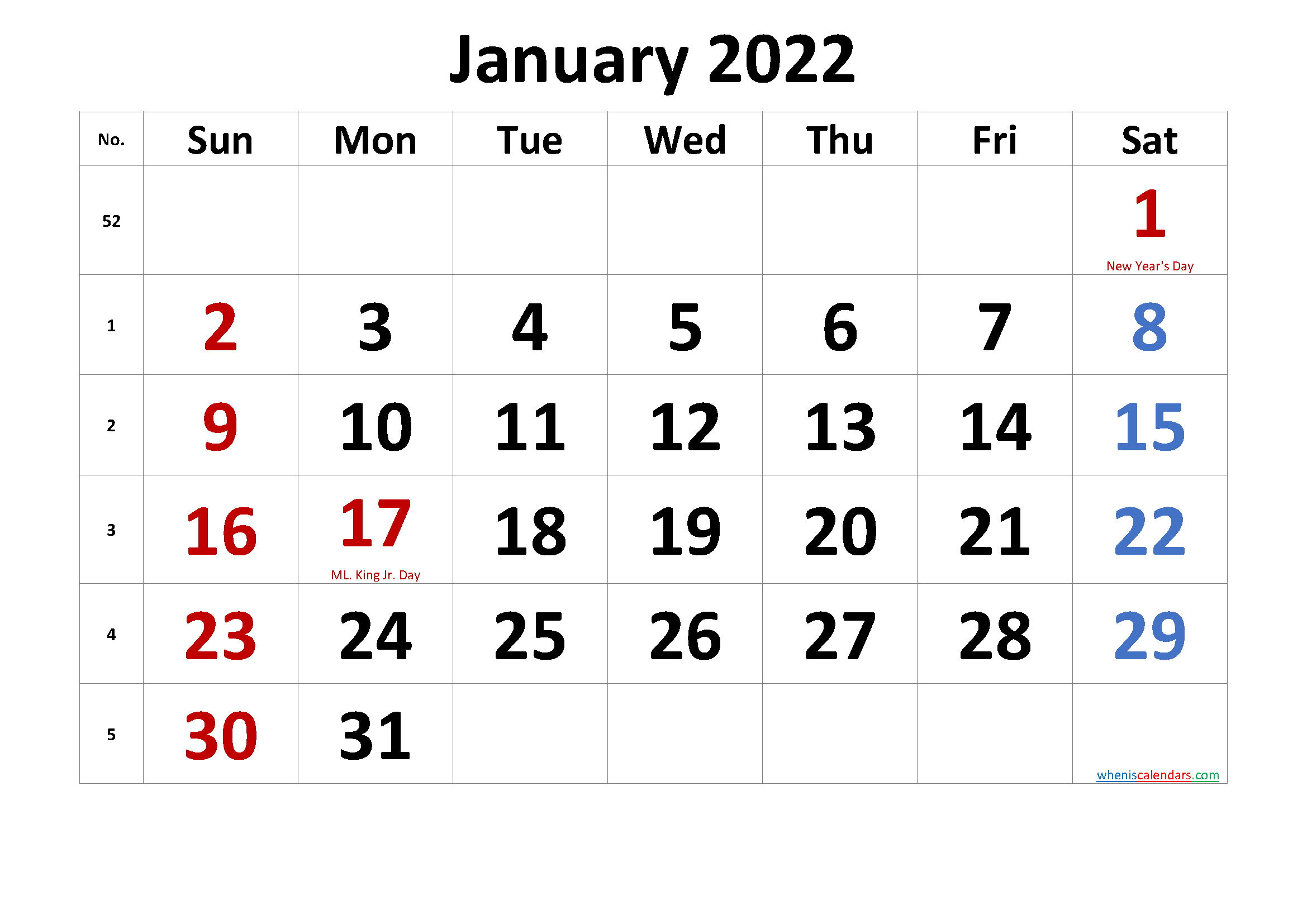 Printable JANUARY 2022 Calendar with Holidays
