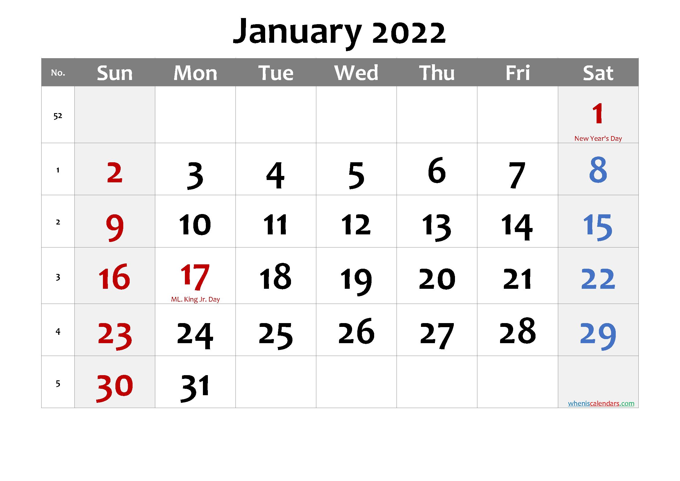 Editable January 2022 Calendar