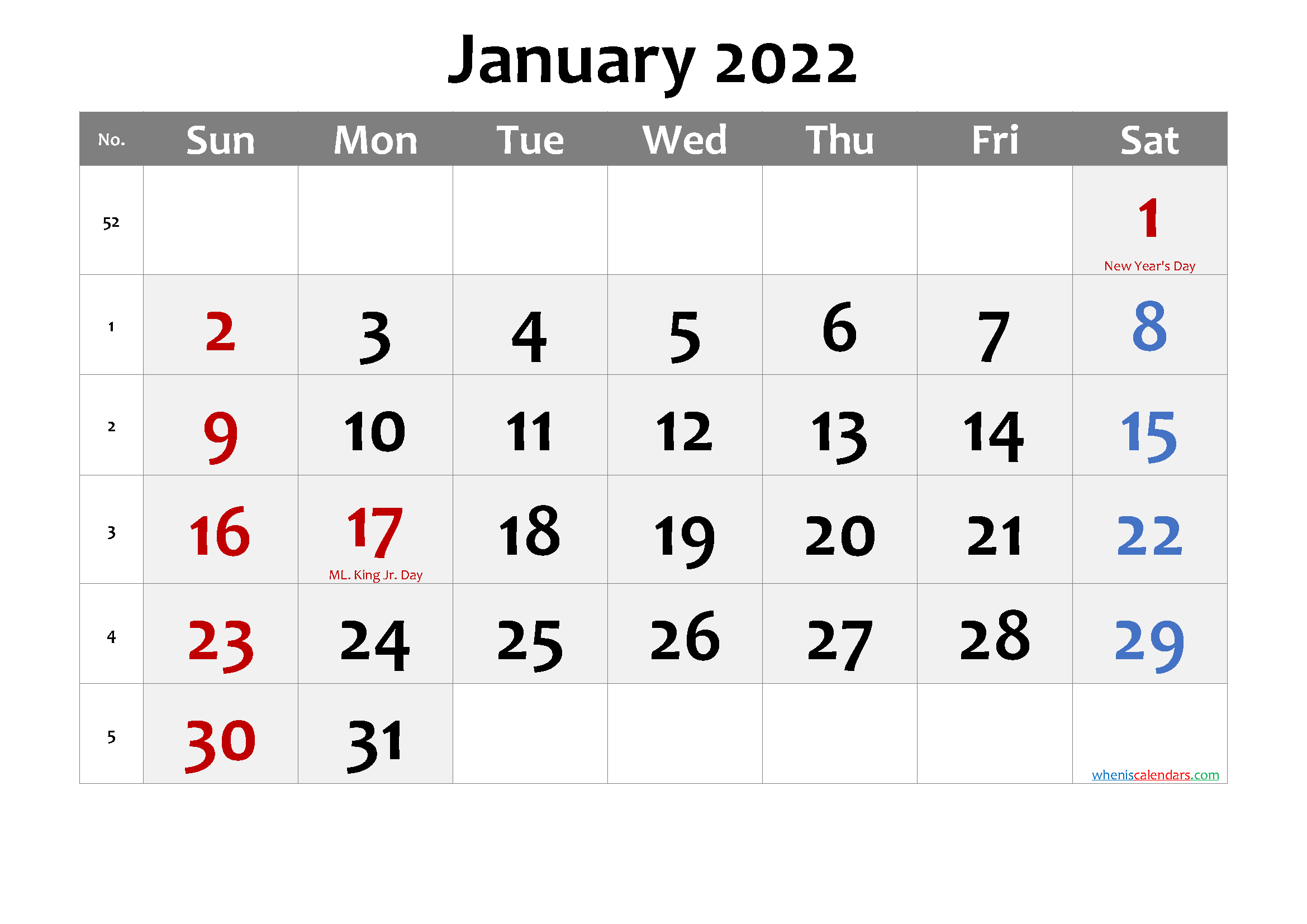 January 2022 Calendar with Holidays Printable