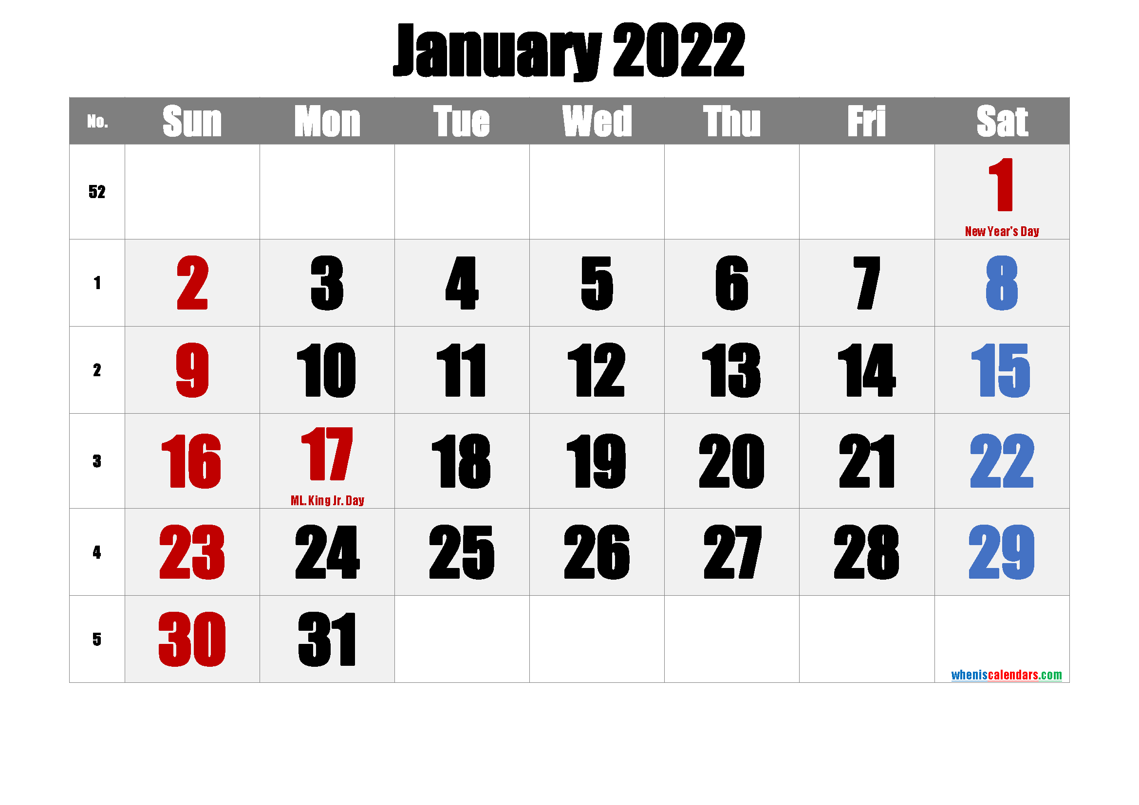 JANUARY 2022 Printable Calendar with Holidays