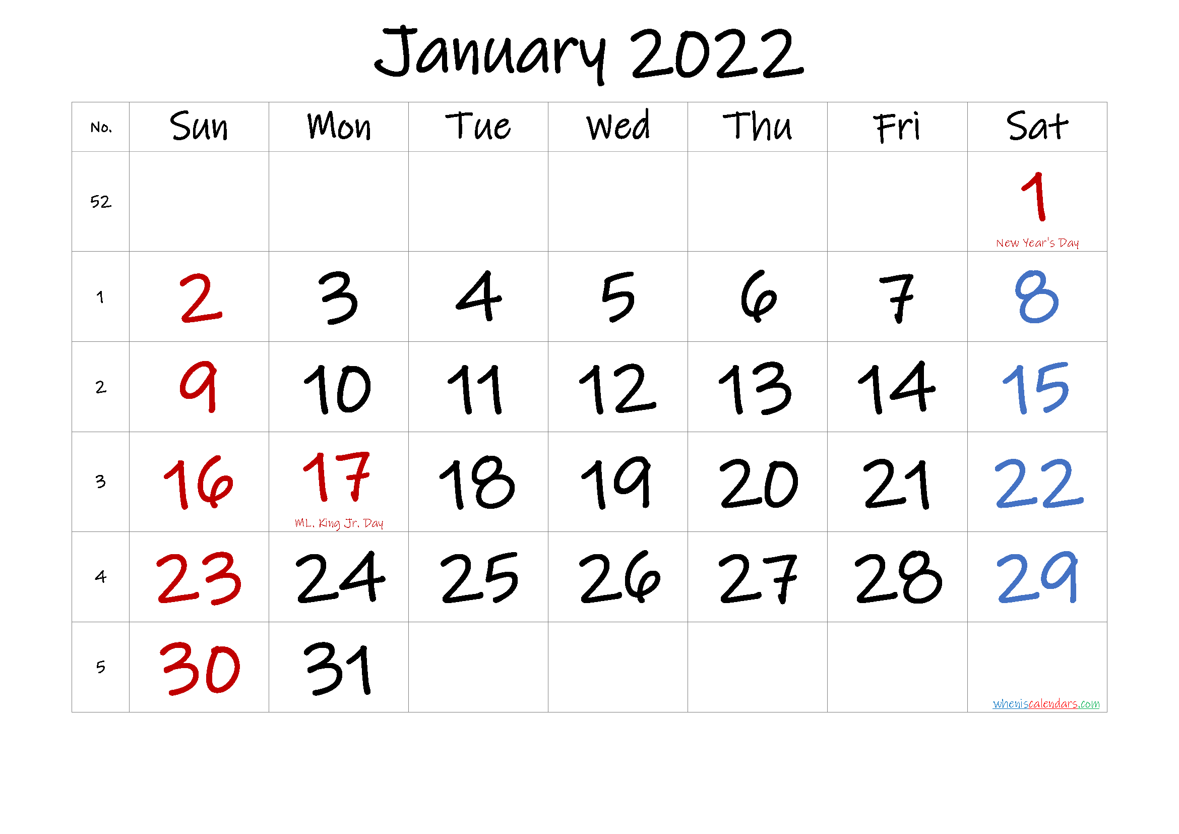 Free January 2022 Monthly Calendar Template Word
