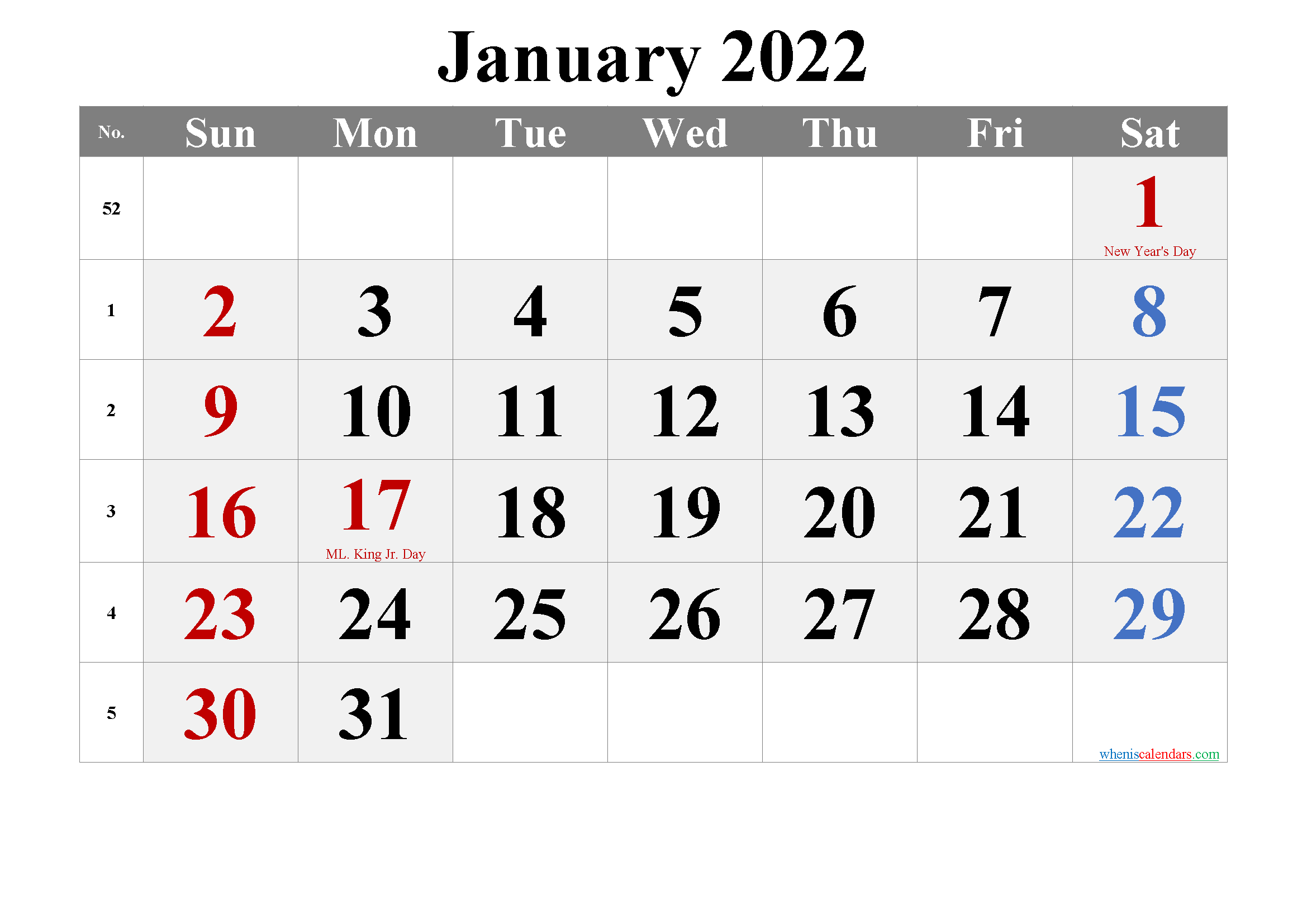 JANUARY 2022 Printable Calendar with Holidays