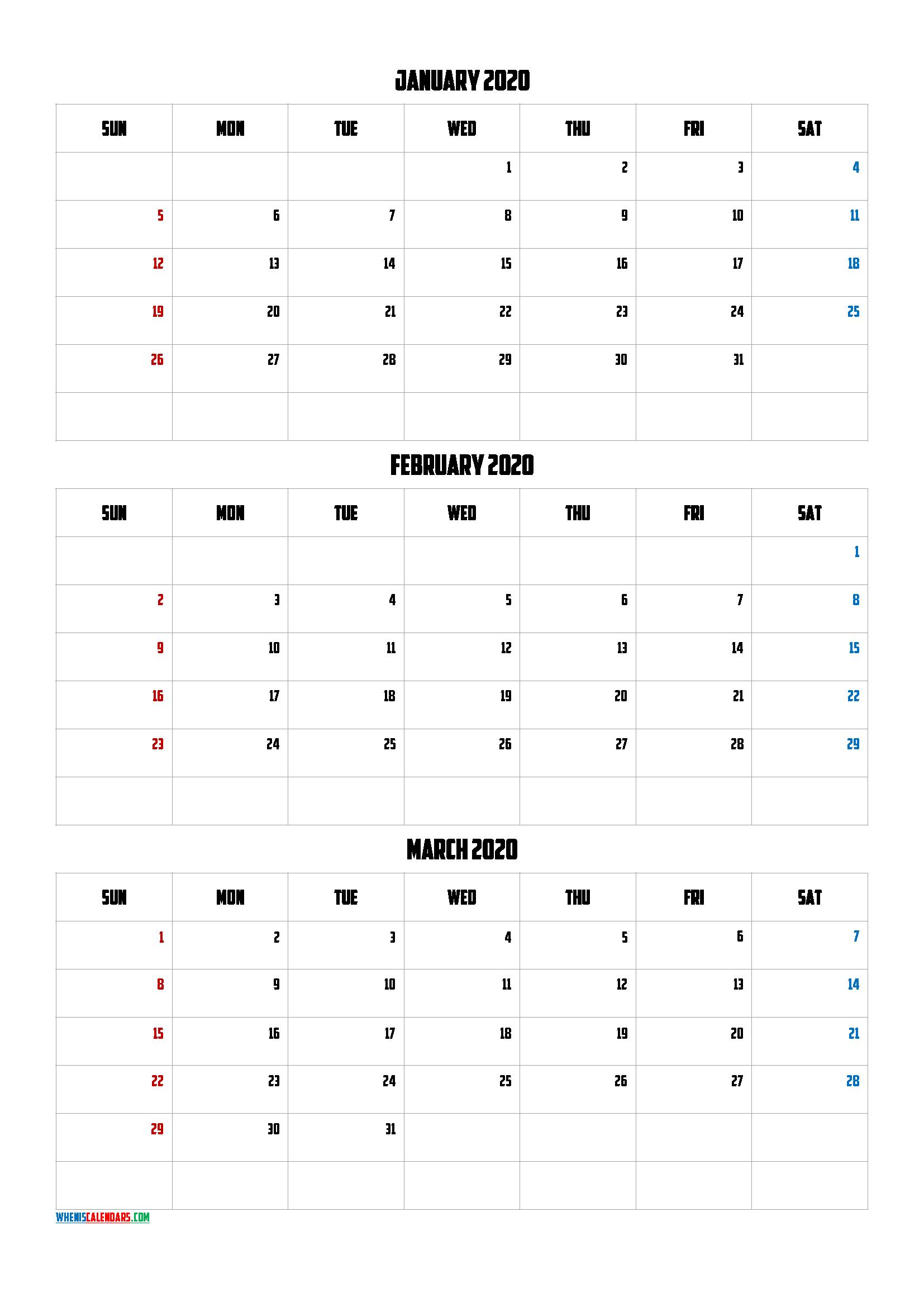 Free January February March 2020 Calendar