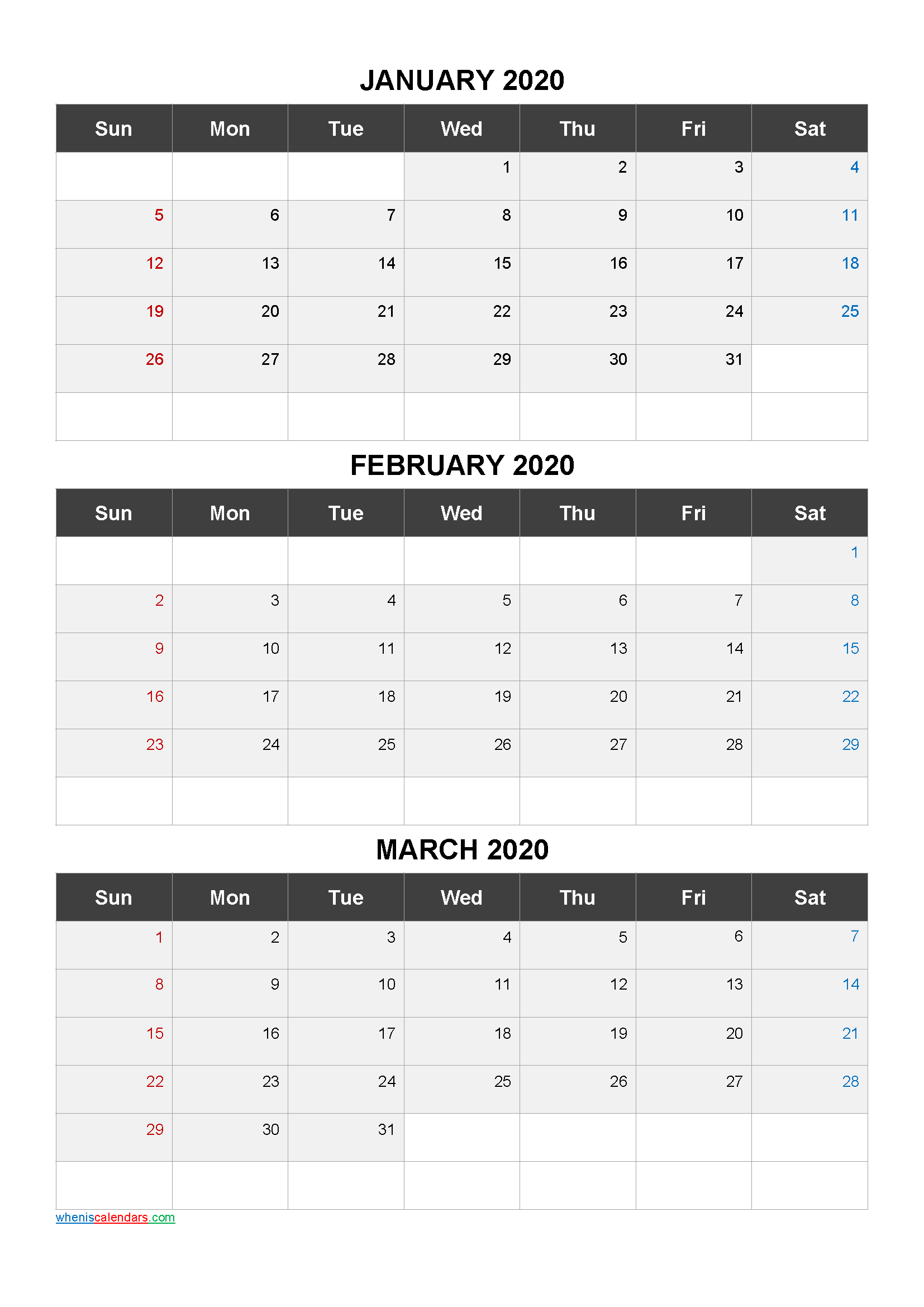 January February March 3 Month Printable Calendar 2020