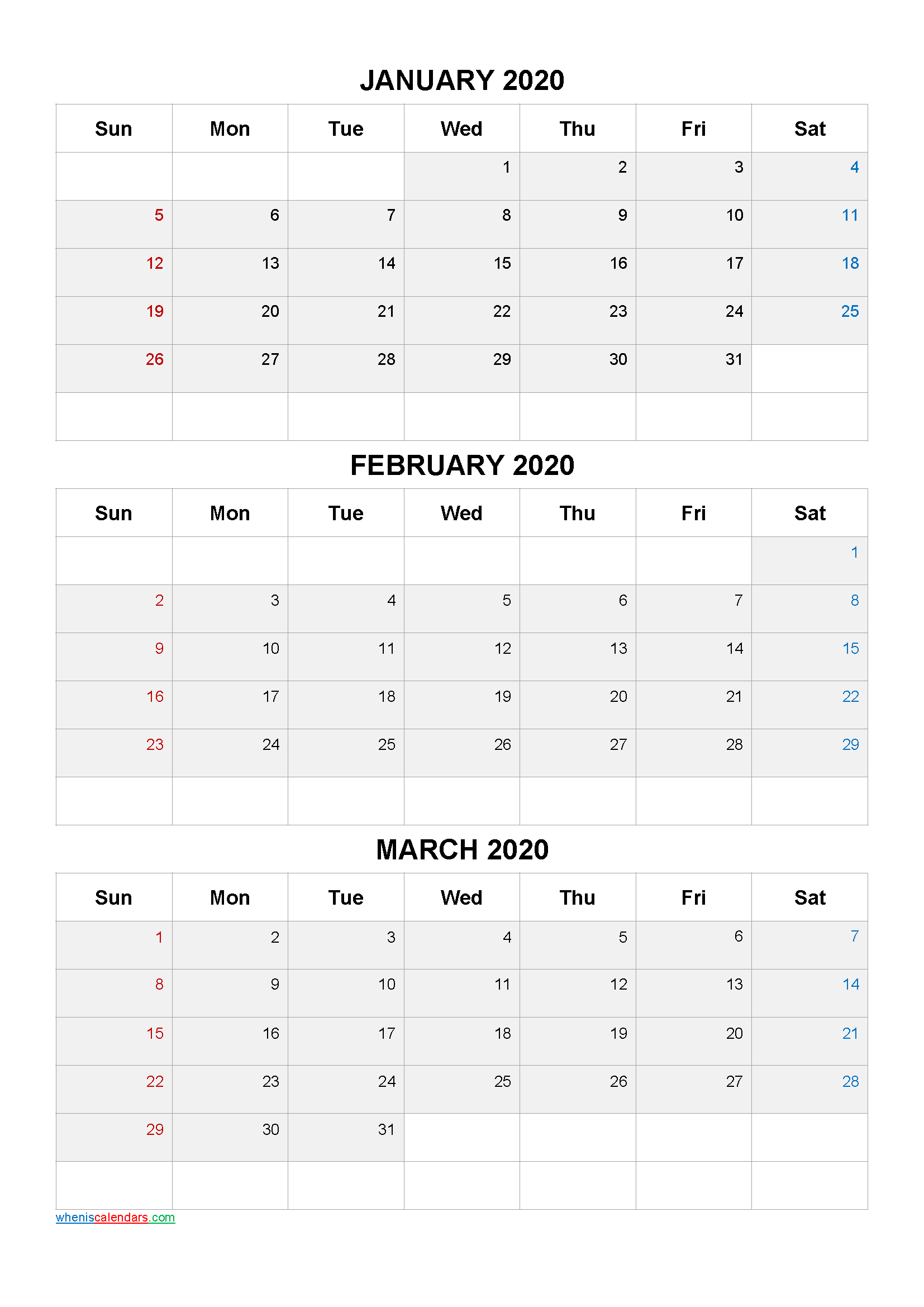 Free January February March 2020 Calendar