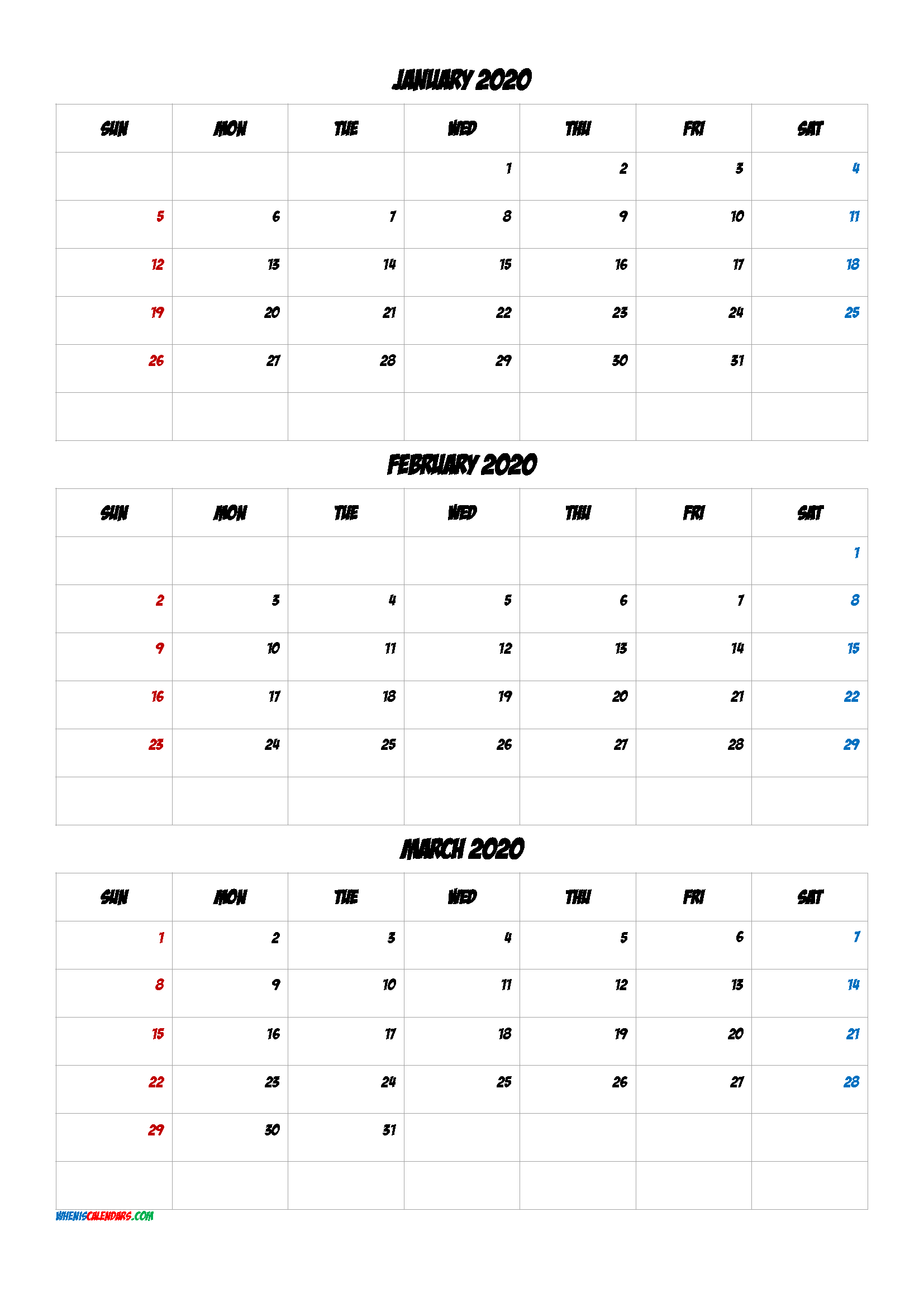 January February March 2021 Three Month Calendar Printable