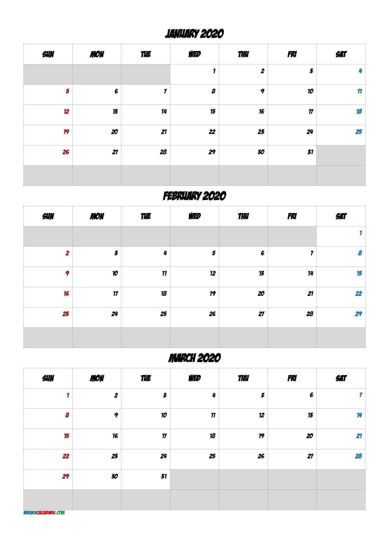 Free Calendar January February March 2020