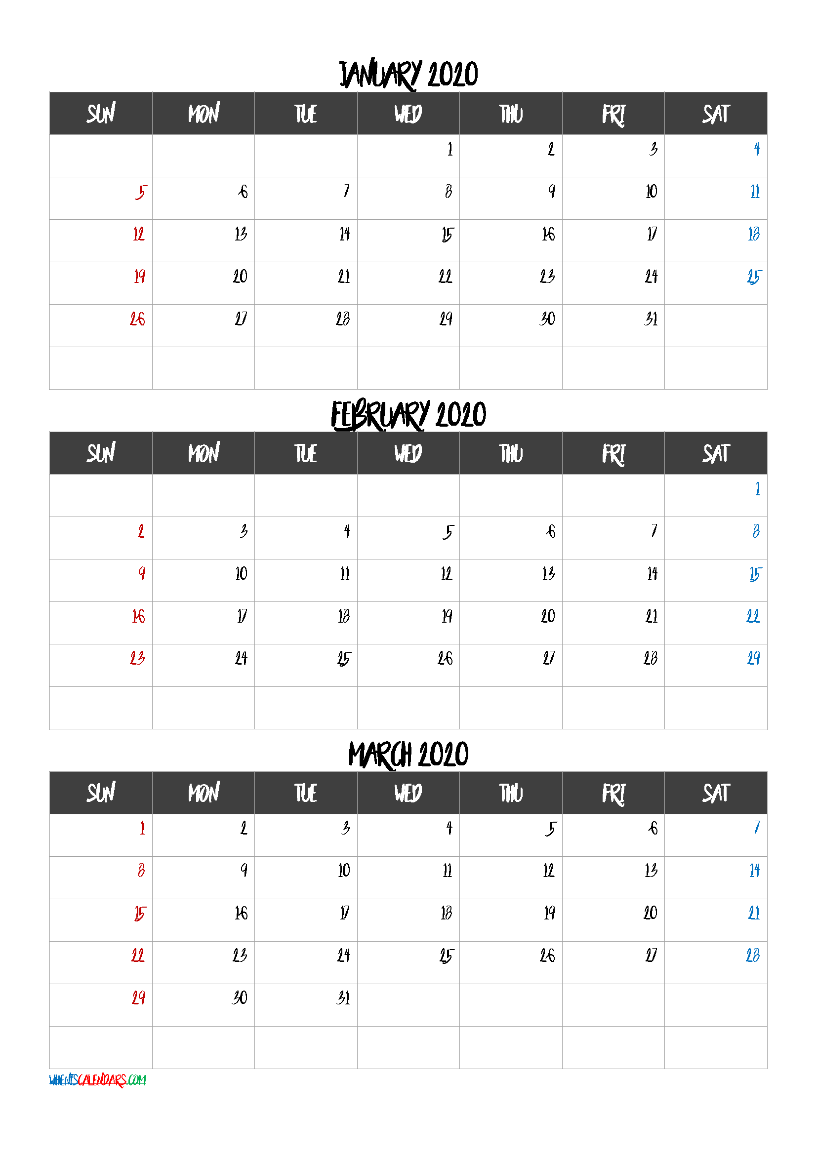 Free Printable 3 Month Calendar2021 January February March