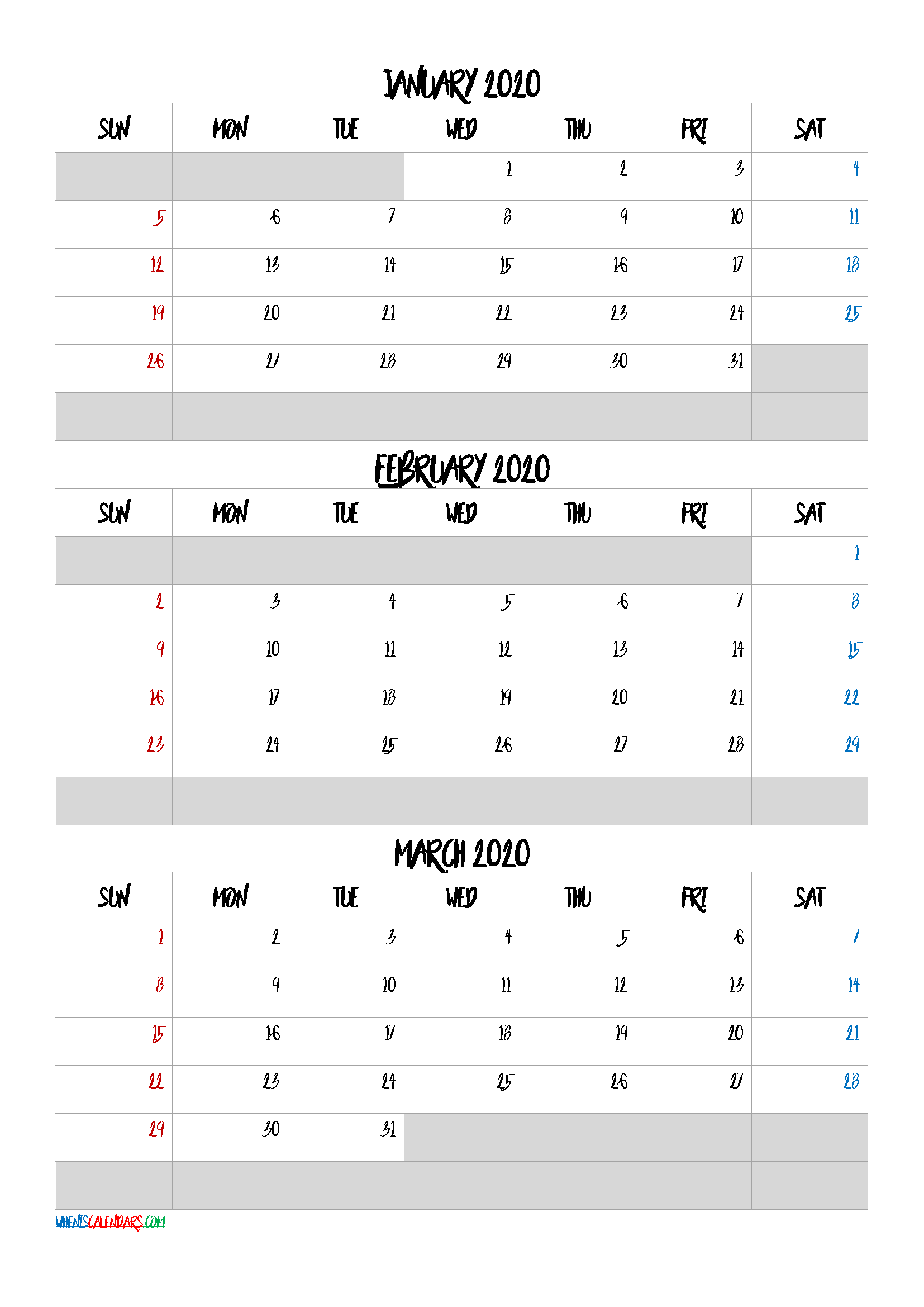 January February March 2021 Free Printable 3 Month Calendar