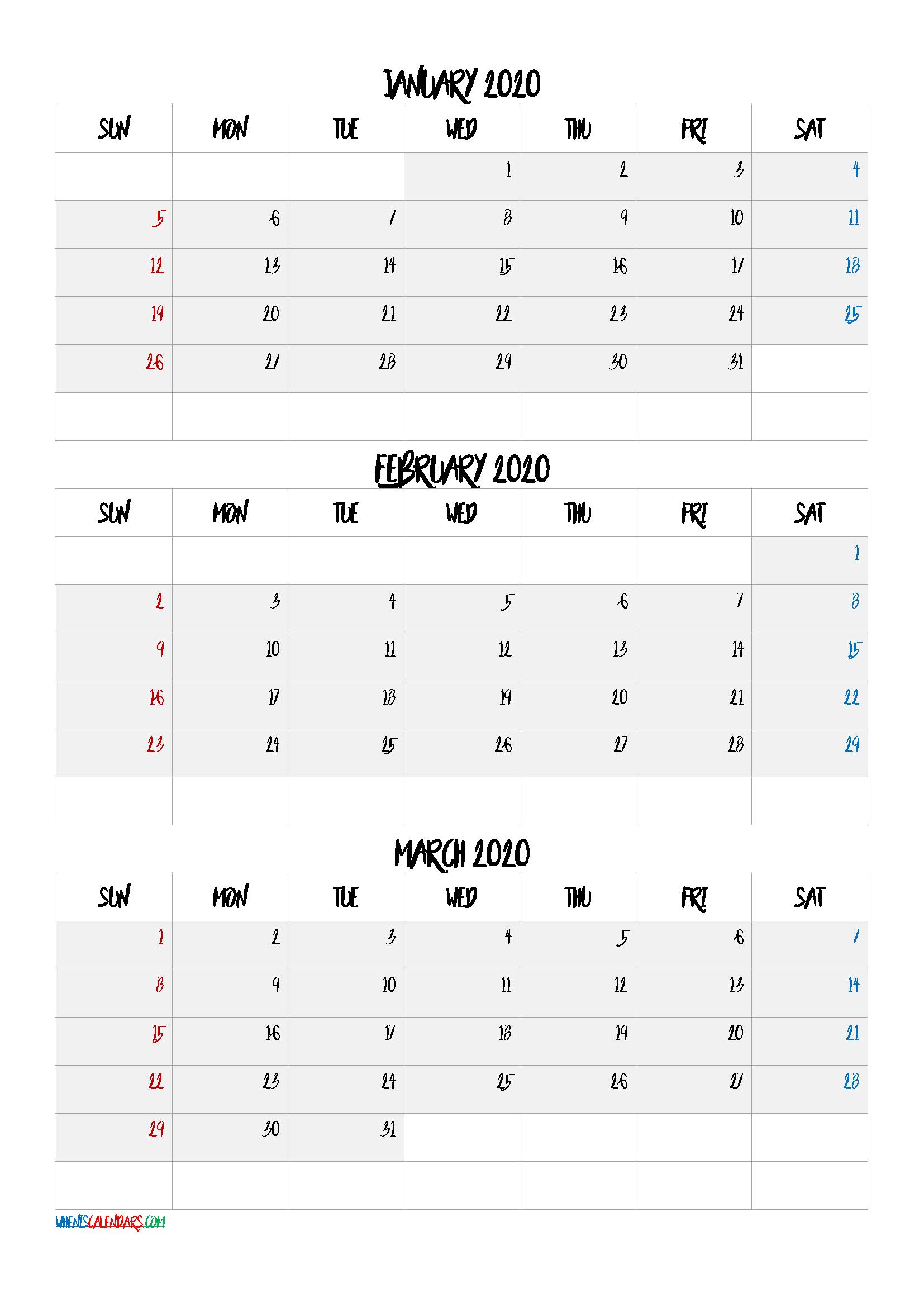 January February March 2020 Three Month Calendar
