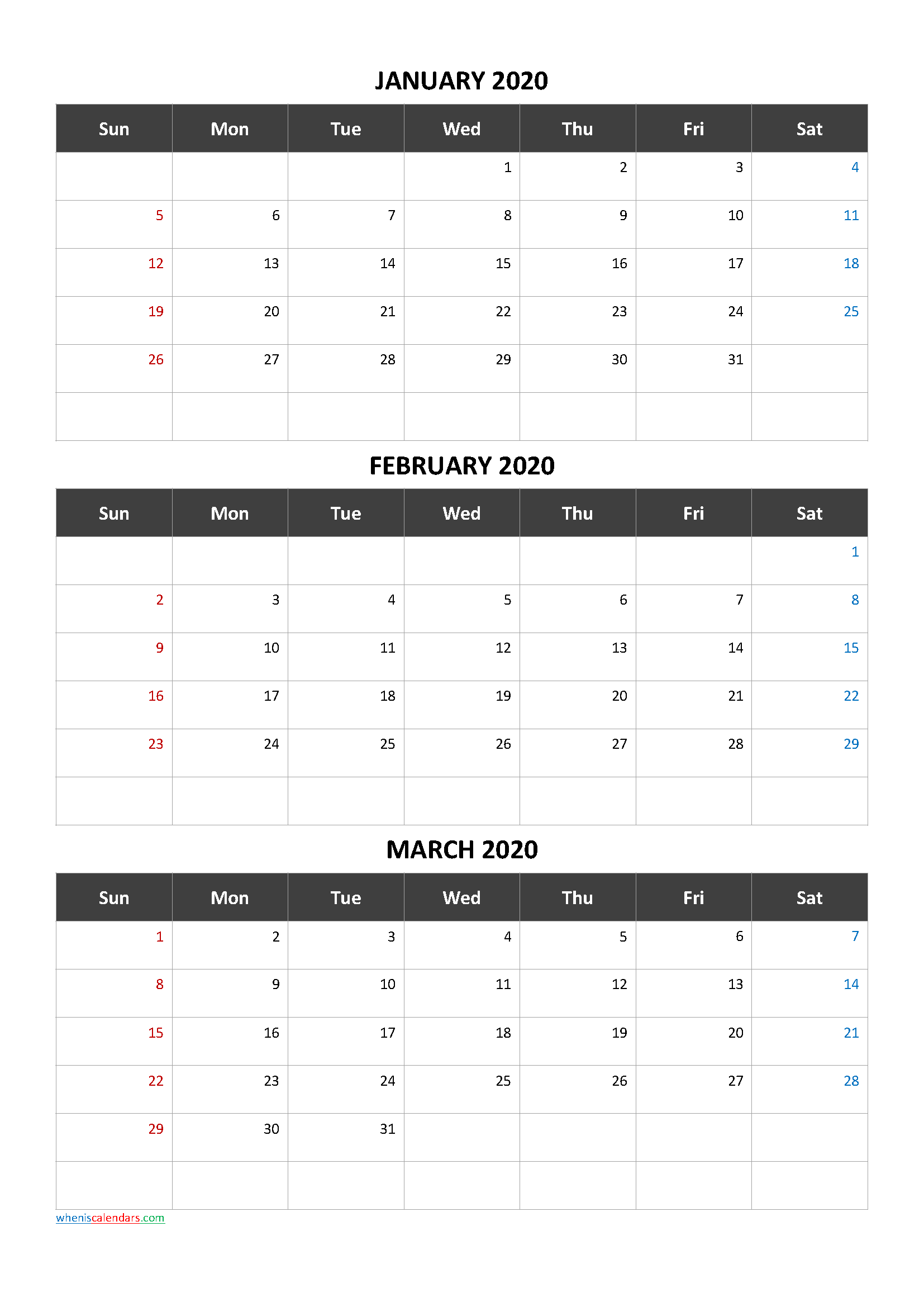 Free Printable 3 Month Calendar2020 January February March