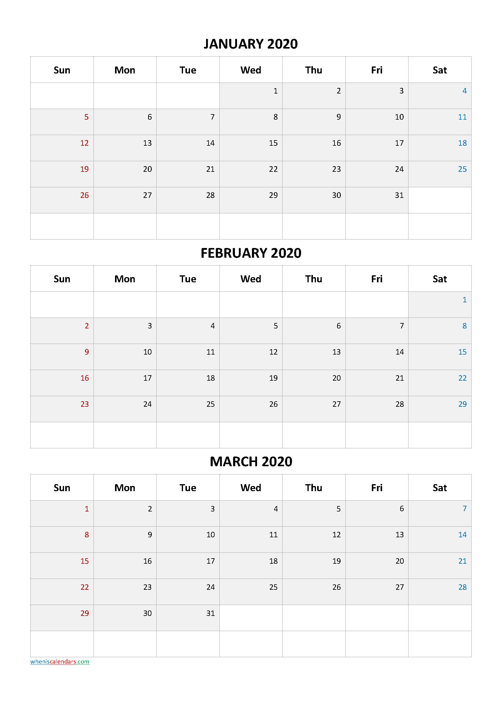 Calendar January February March 2020 PDF