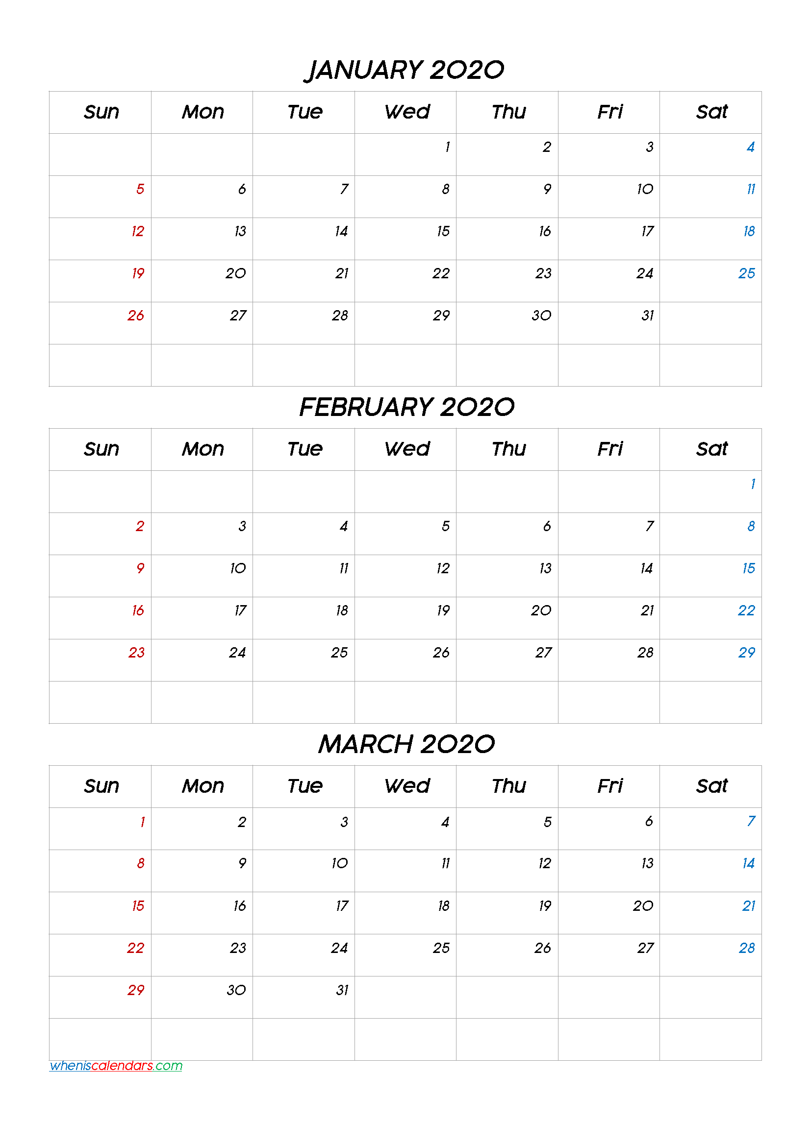 January February March 2020 Three Month Calendar Printable