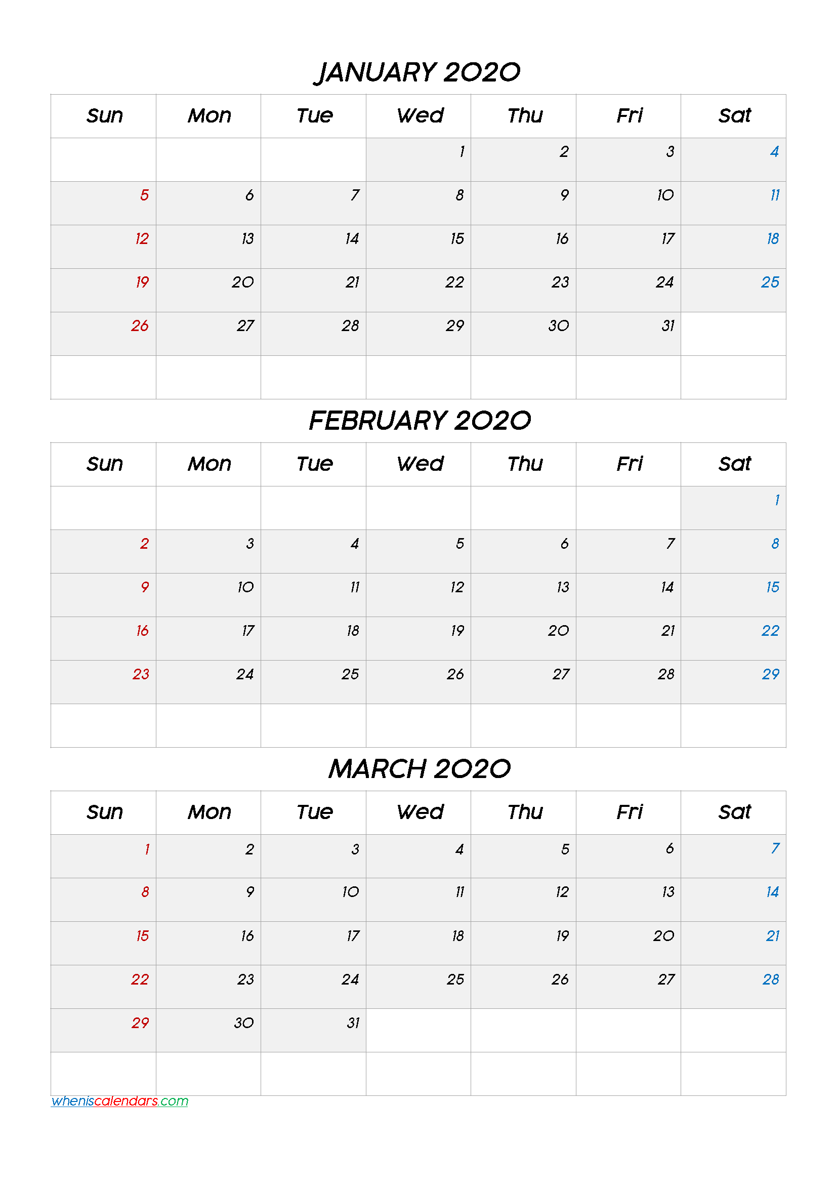 January February March 2020 Calendar Printable Free
