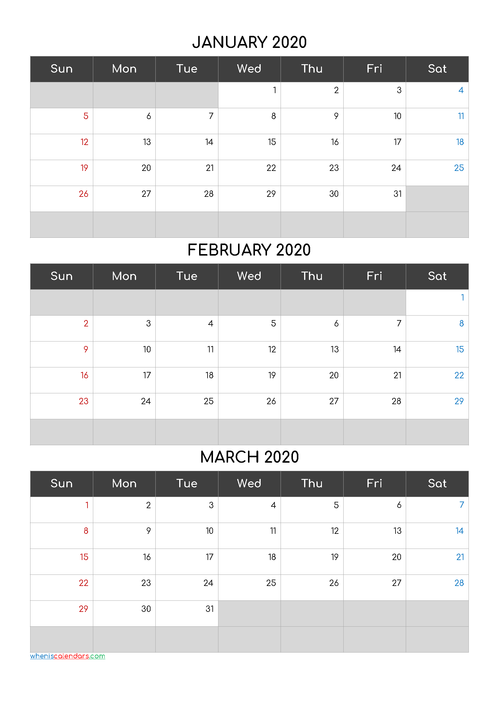 Printable Calendar January February March 2020