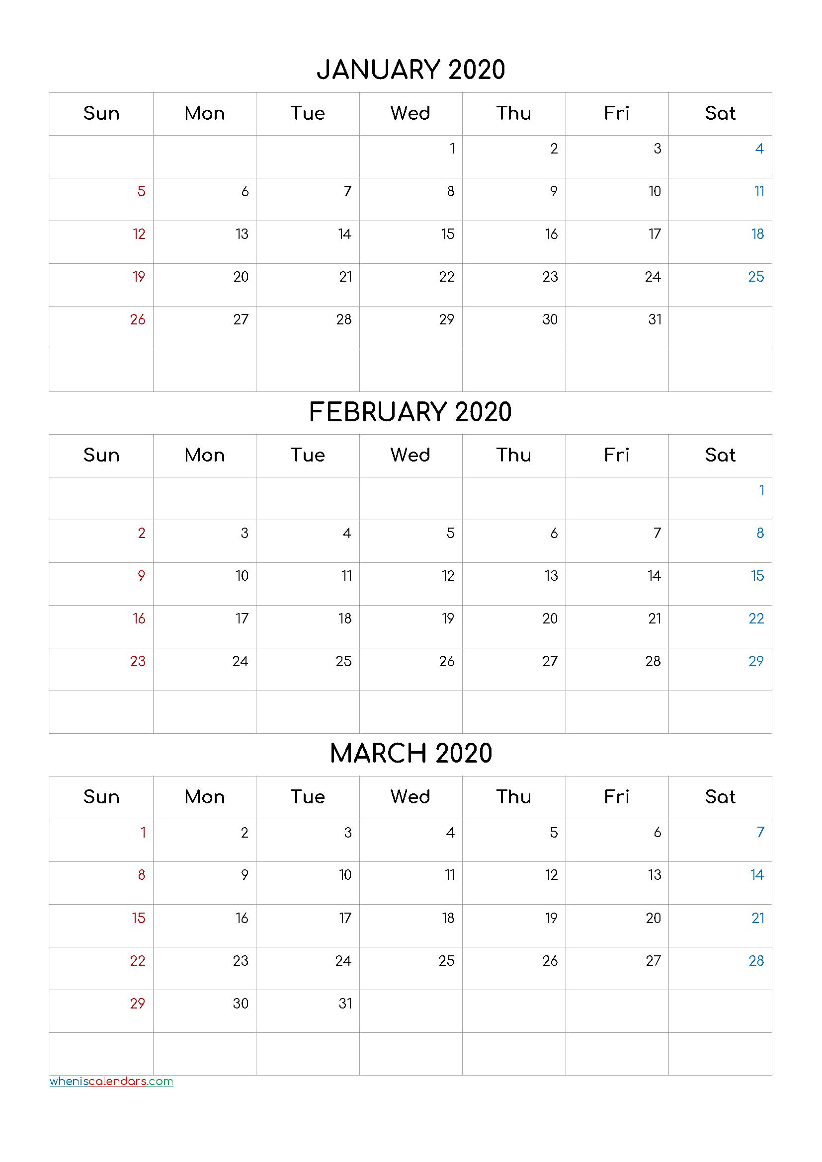 January February March 2020 Three Month Calendar Printable