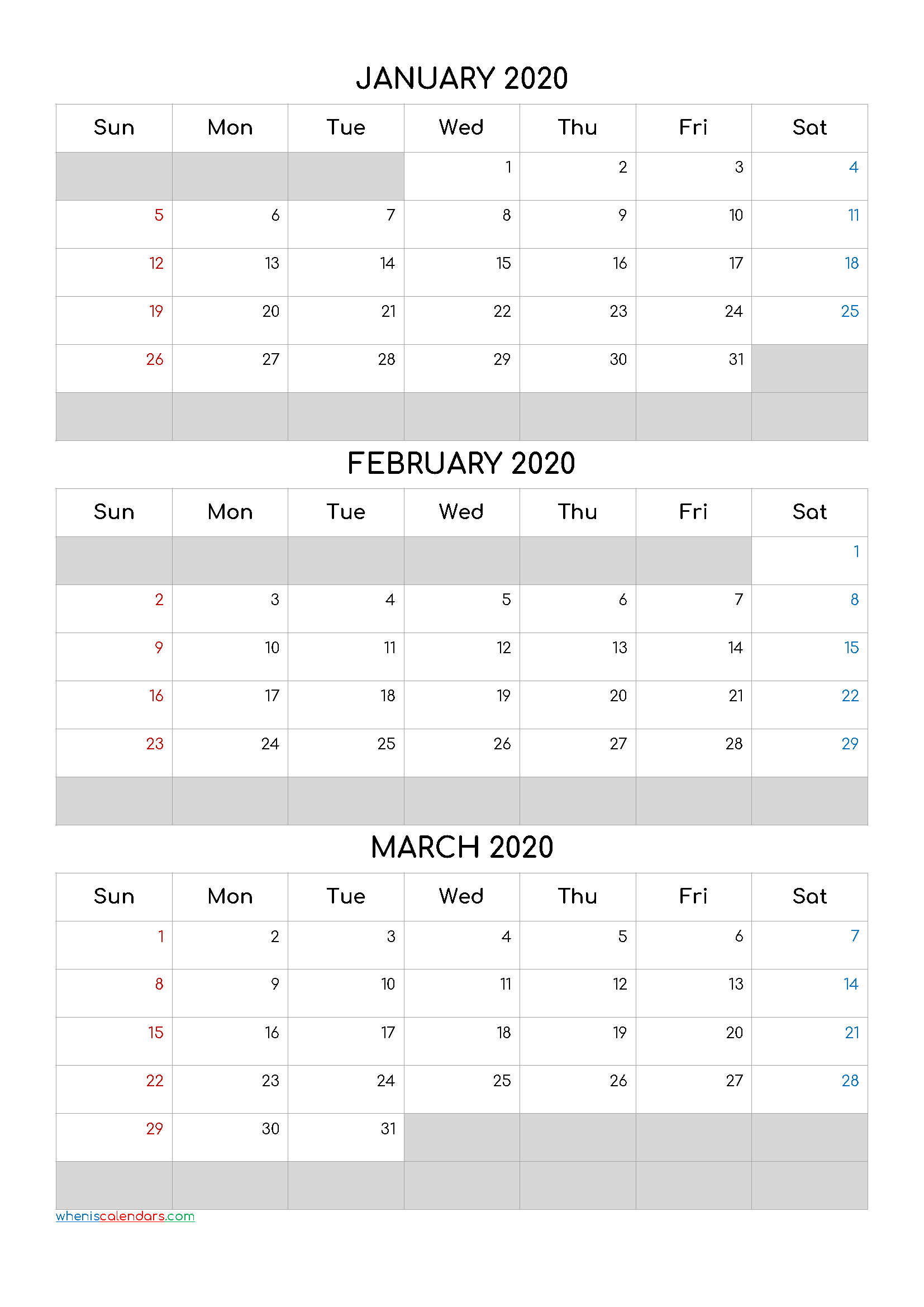 January February March 2020 Free Printable 3 Month Calendar