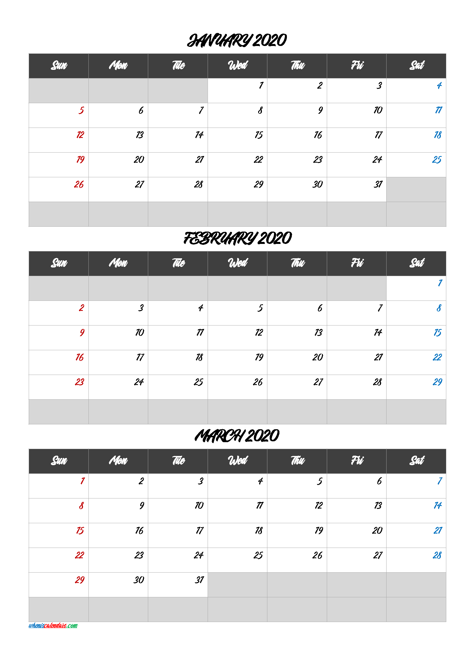 January February March 2020 Printable Calendar