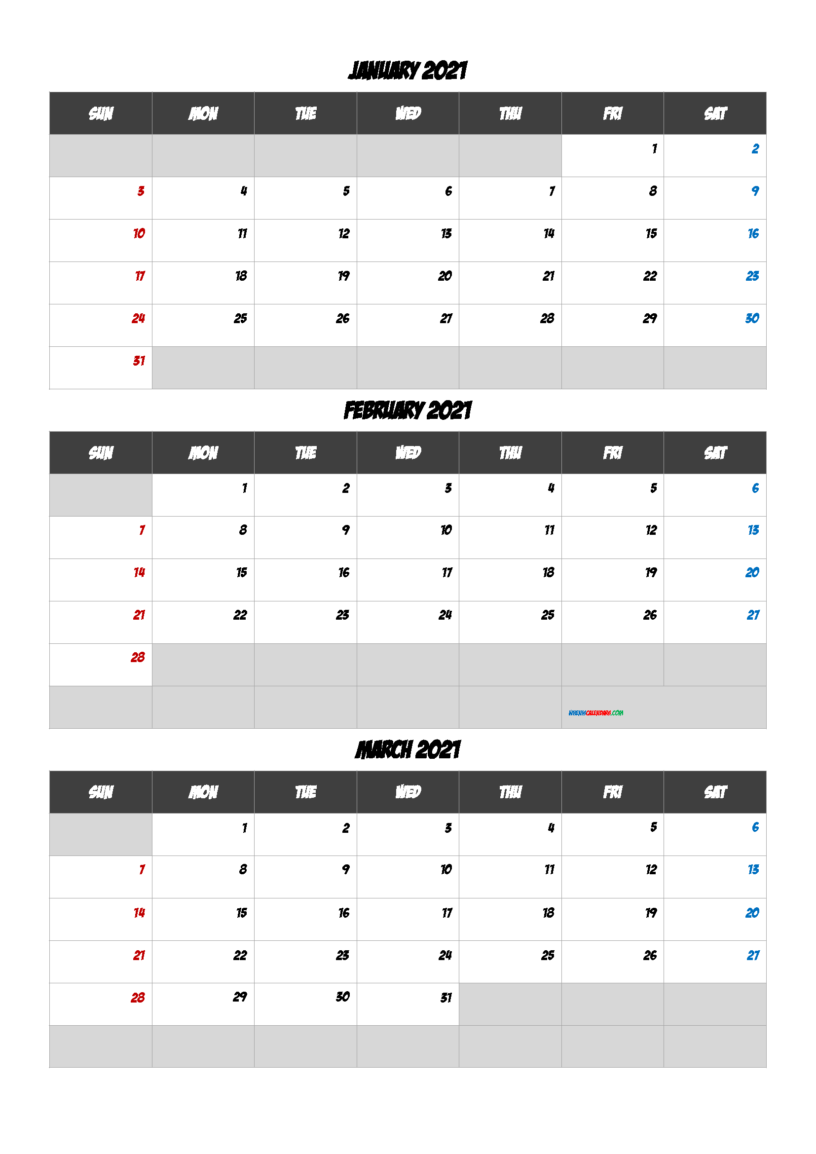 Printable Calendar January February March 2021