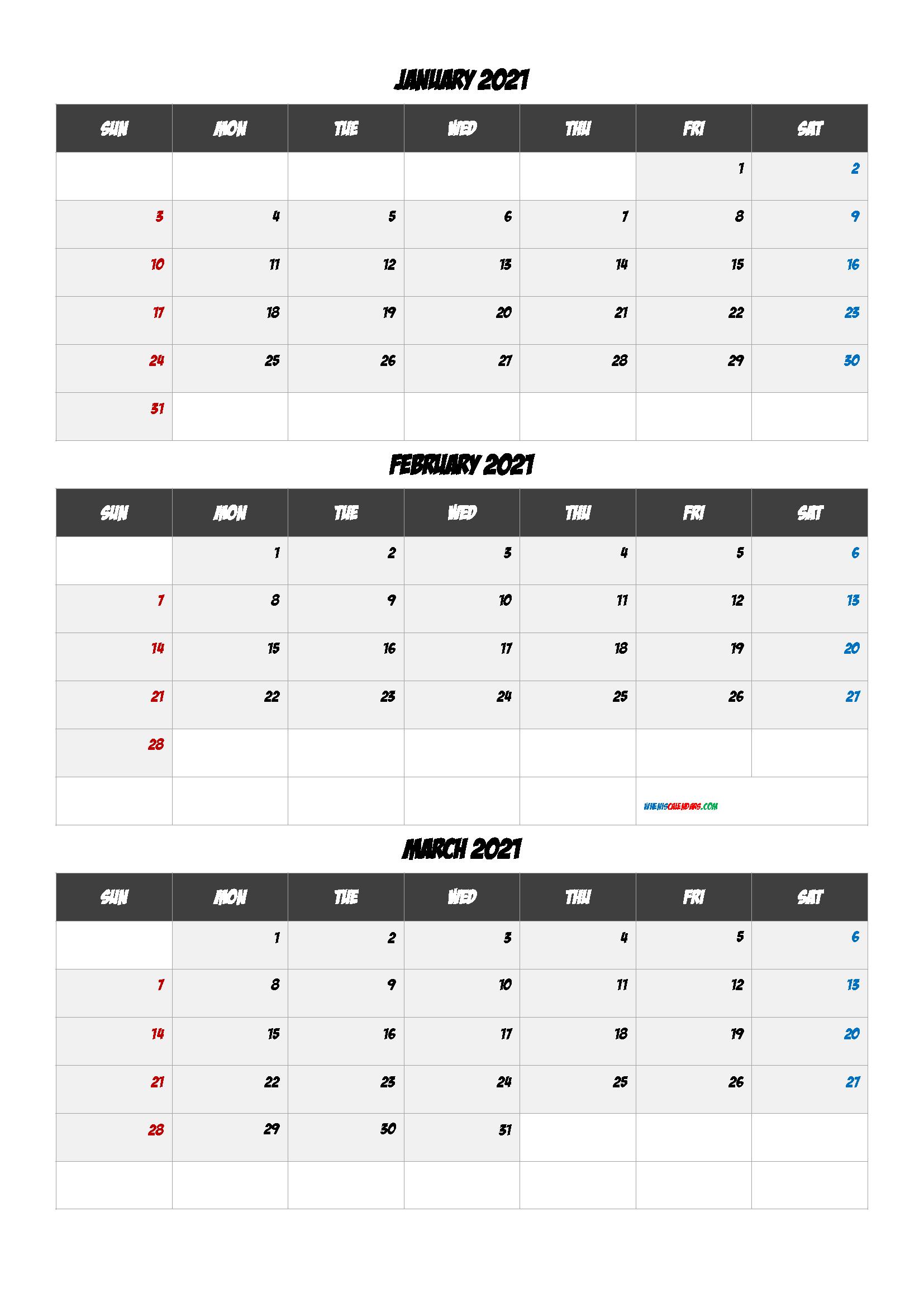 Calendar January February March 2021