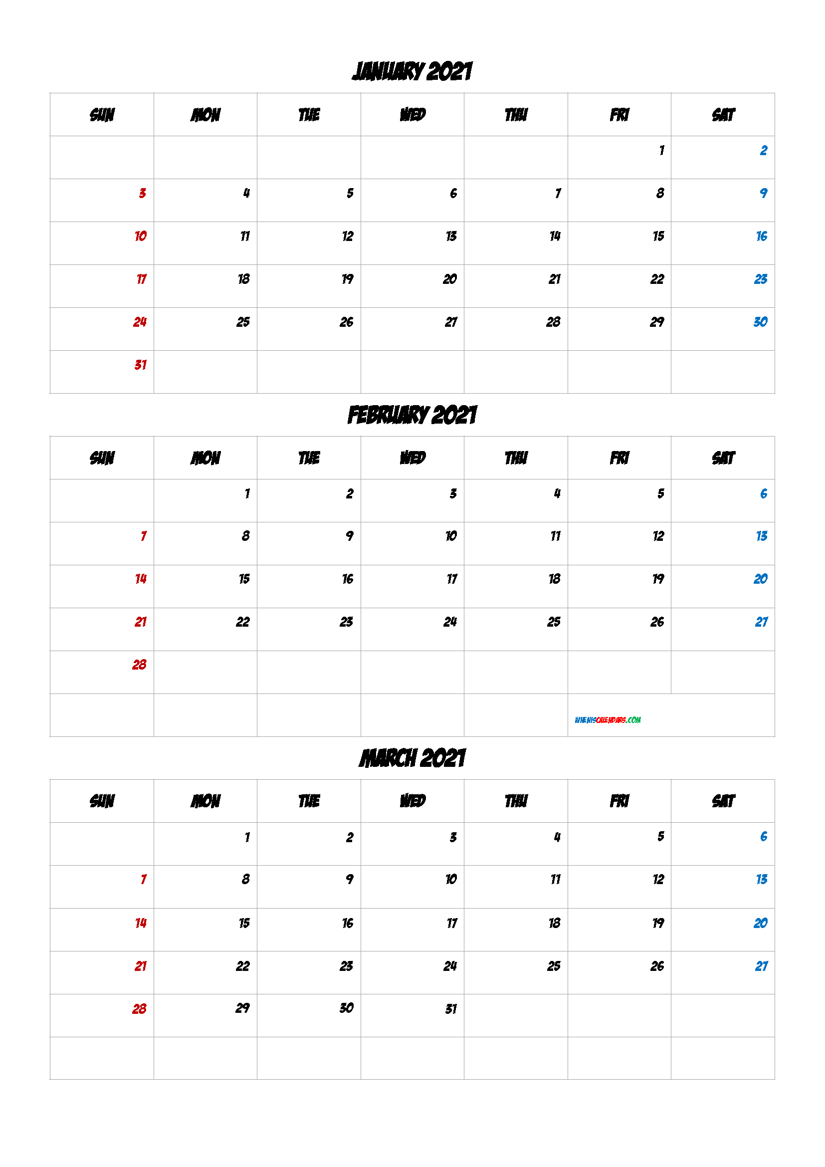 January February March 2021 Printable Calendar