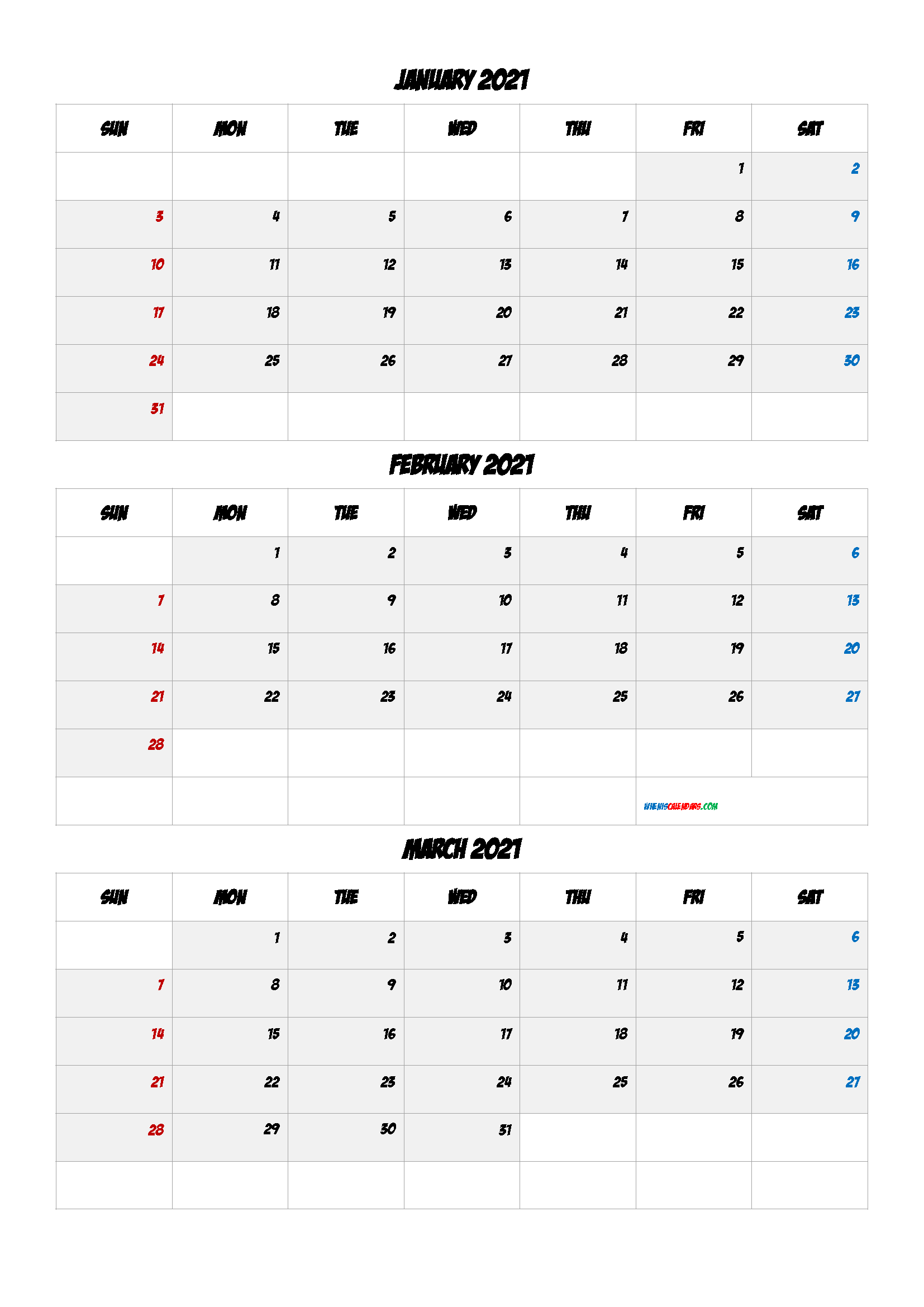 Printable Calendar January February March 2021
