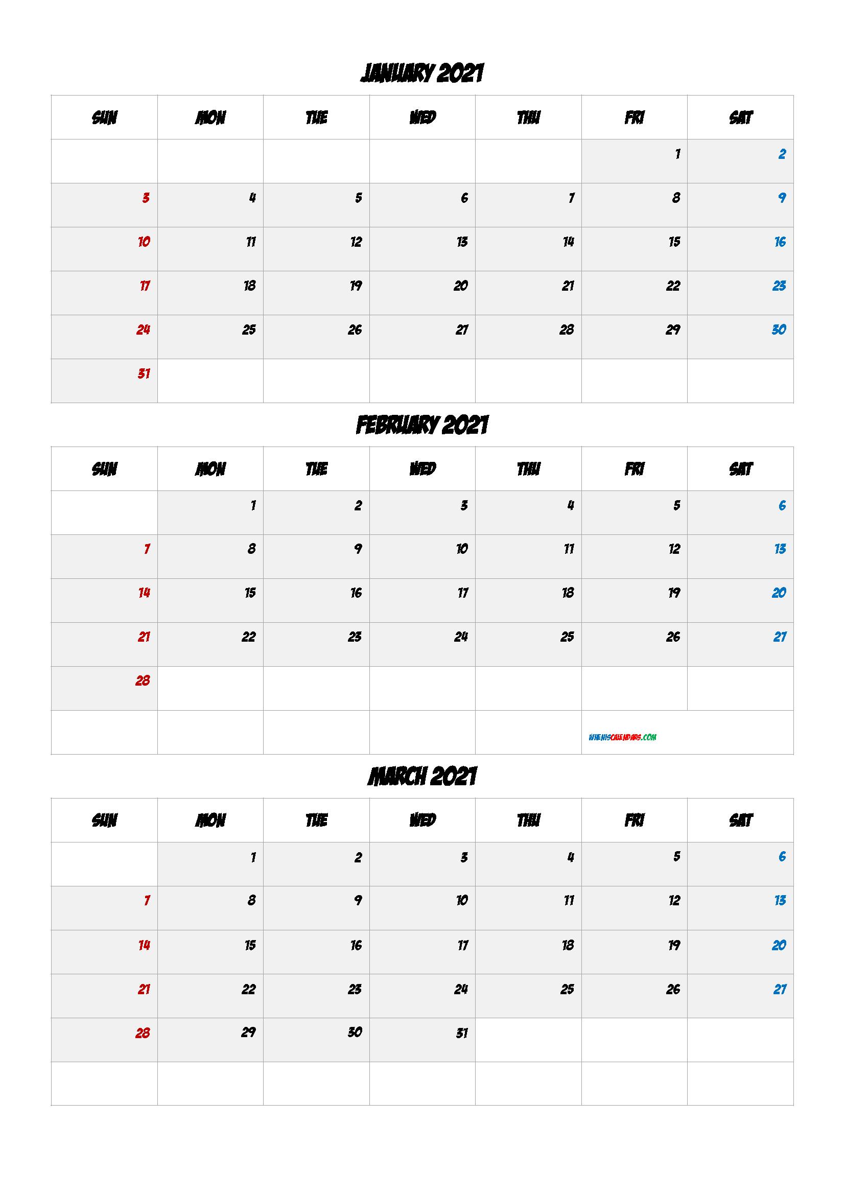 Calendar January February March 2021 PDF