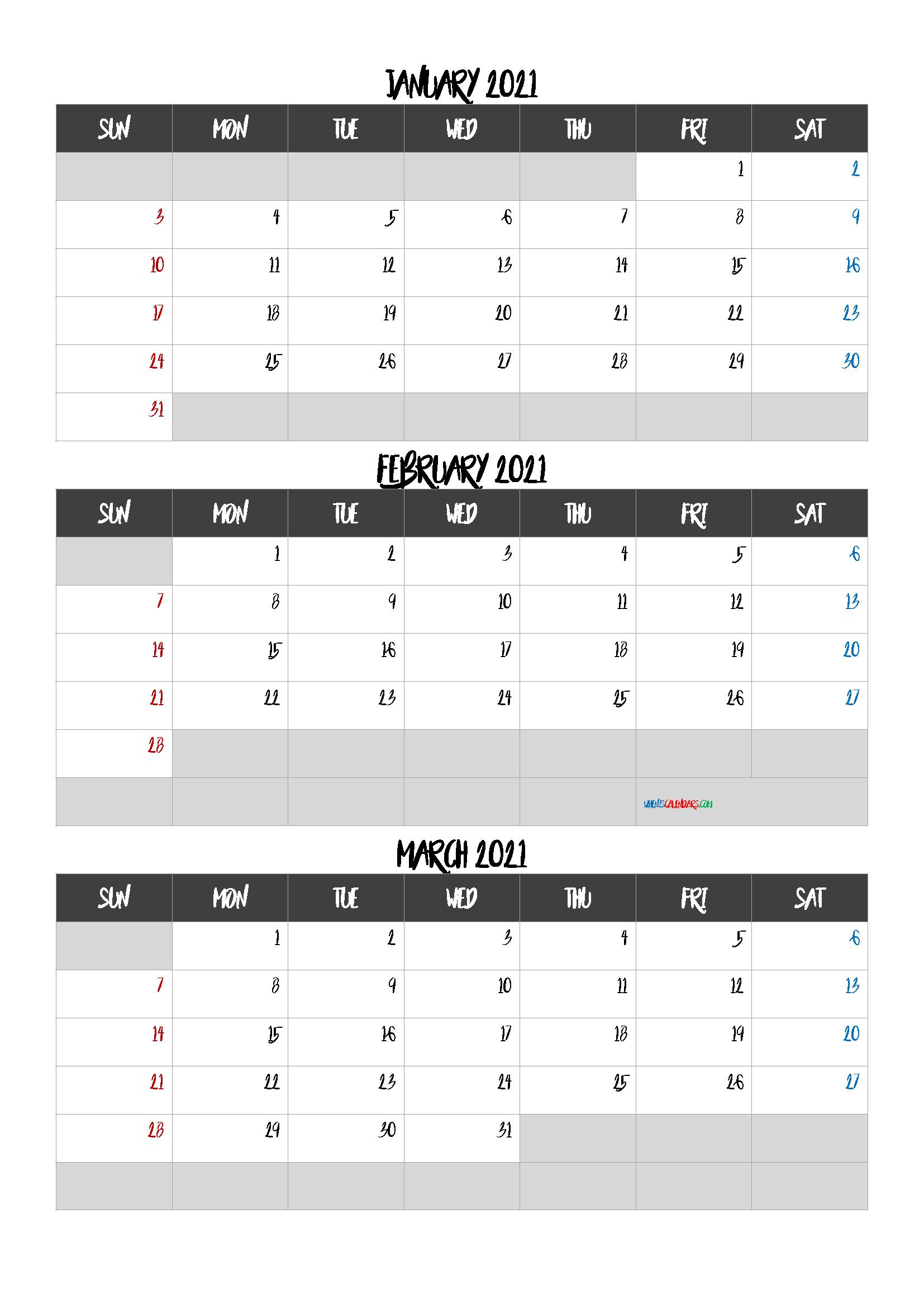January February March 2021 Calendar Printable Free