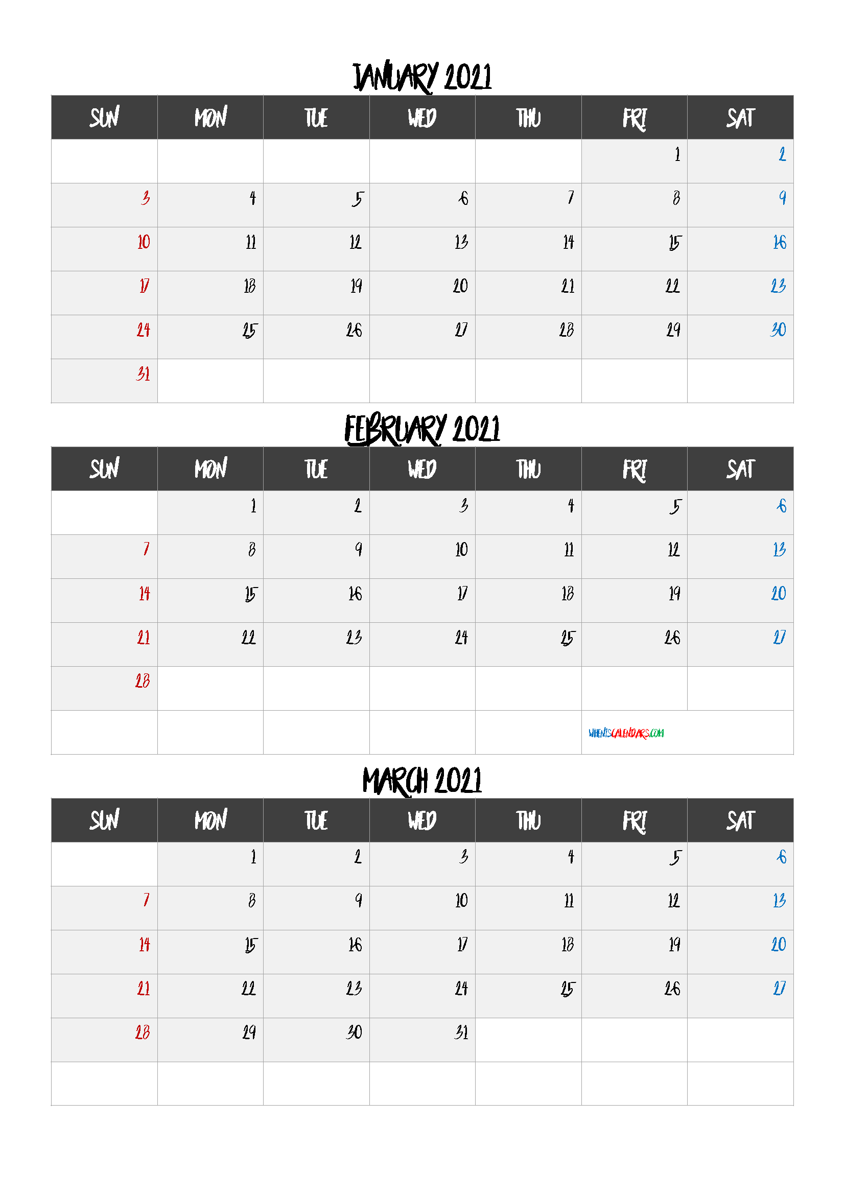 January February March 2021 Calendar Template