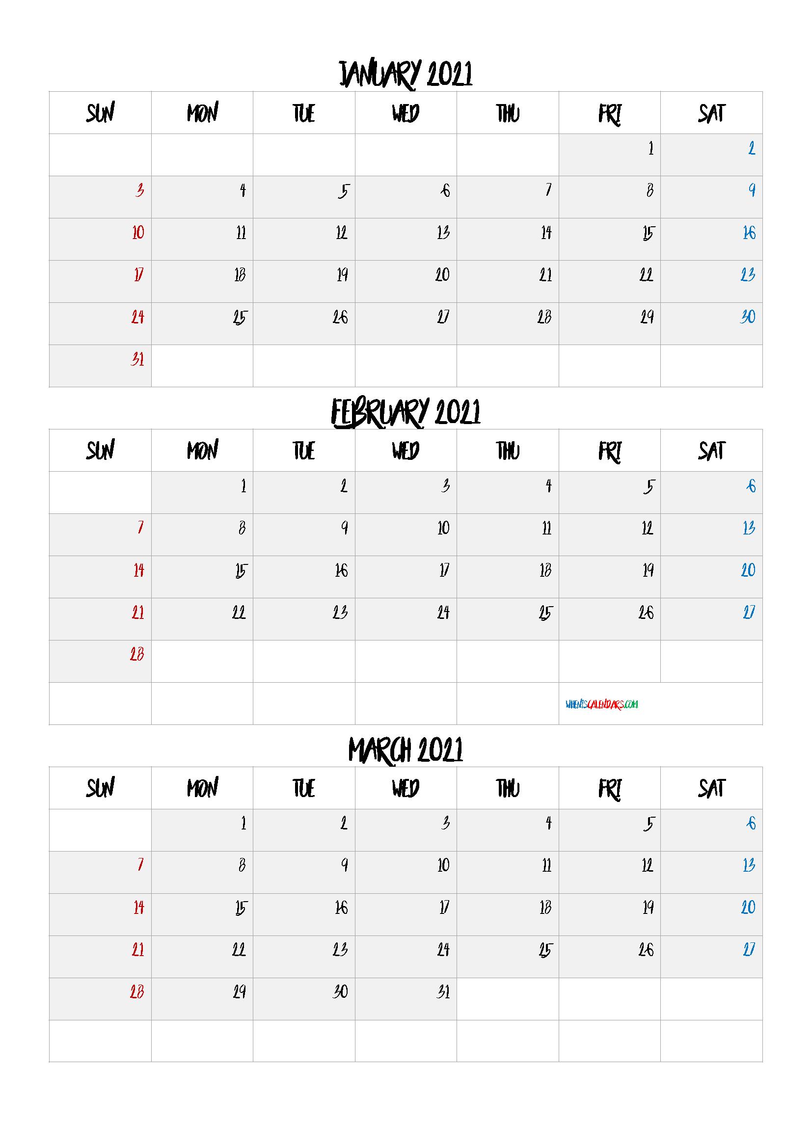 January February March 2021 Printable Calendar