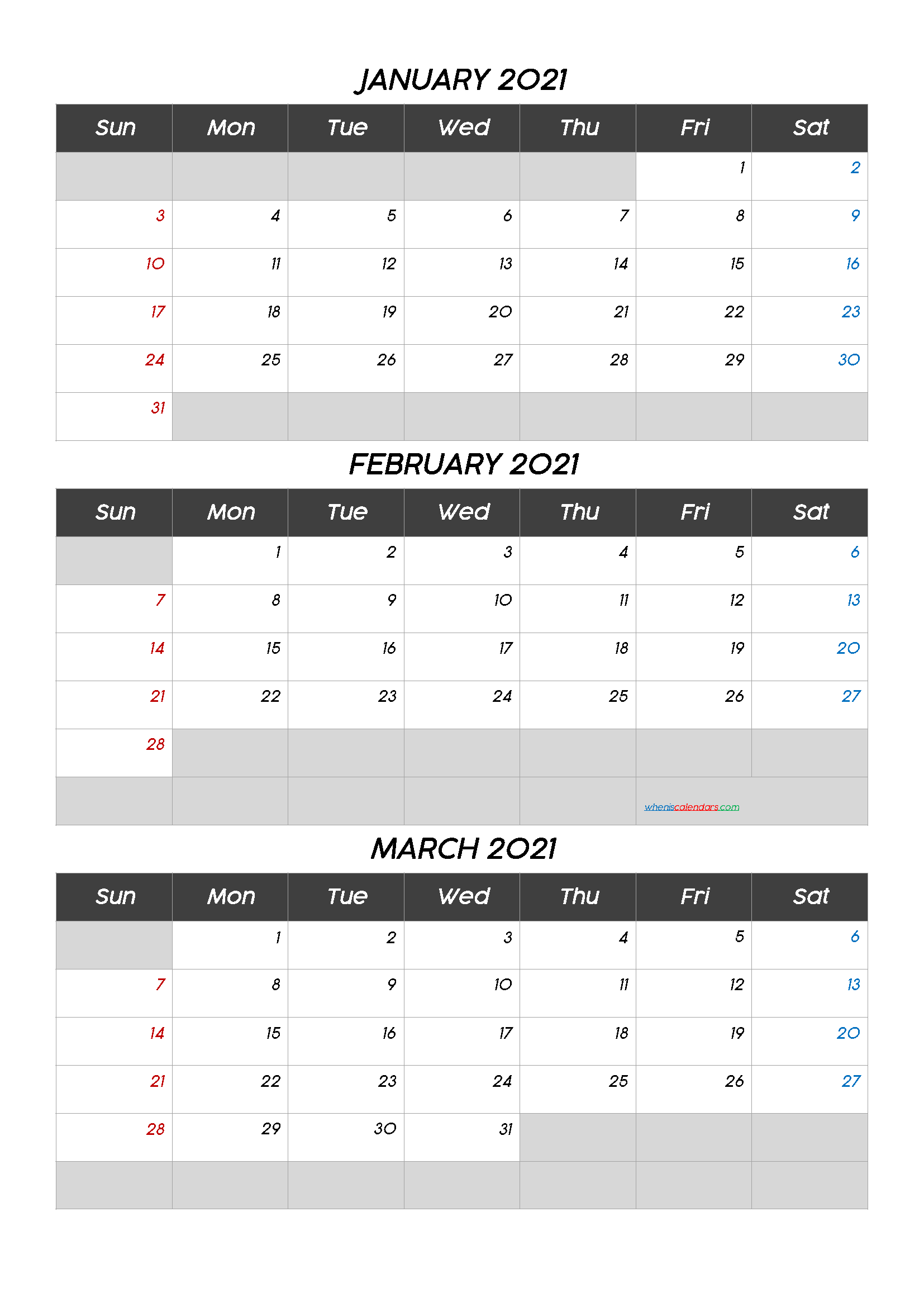 January February March 2021 Calendar Free Download