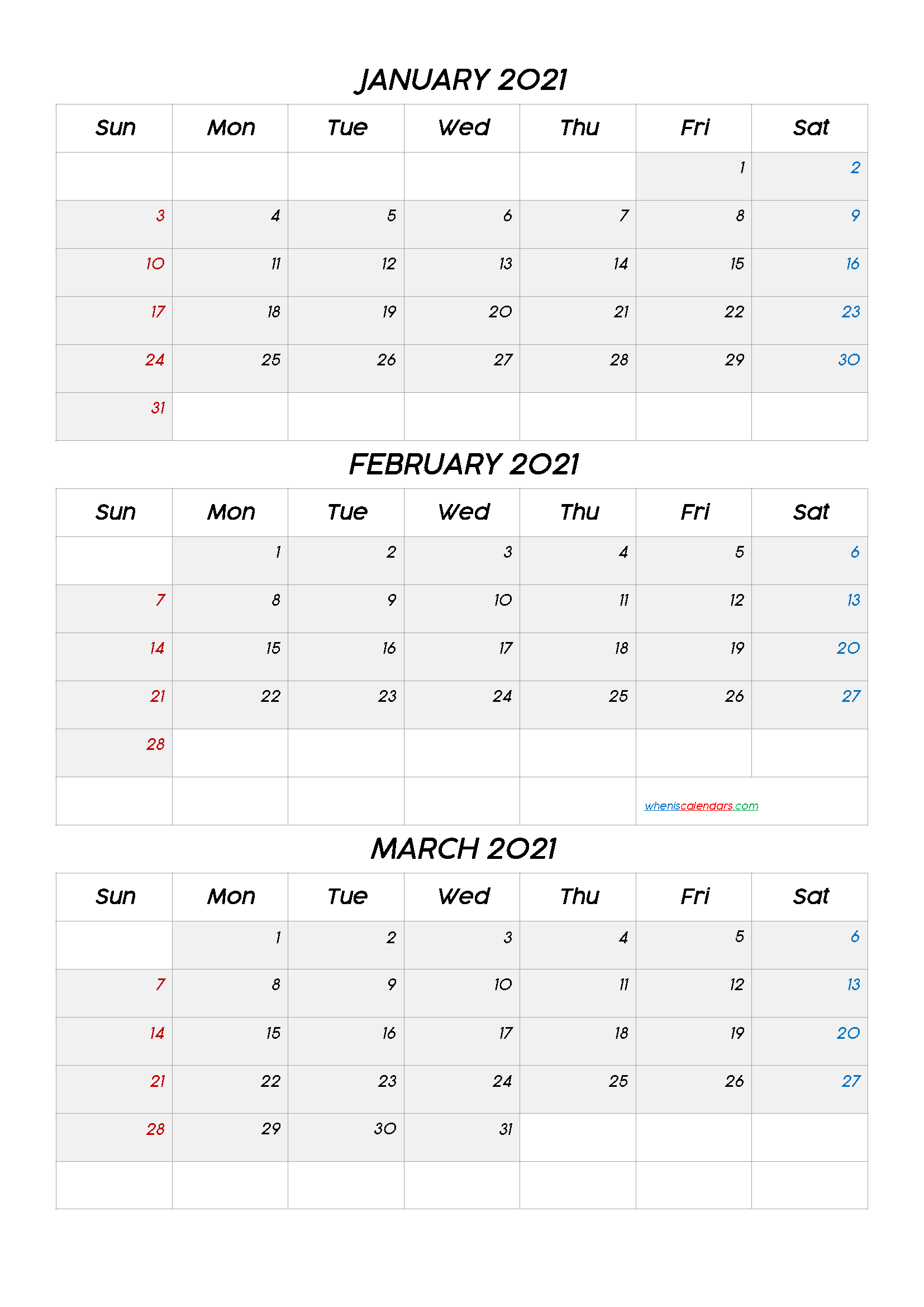 January February March 2021 Calendar Printable Free