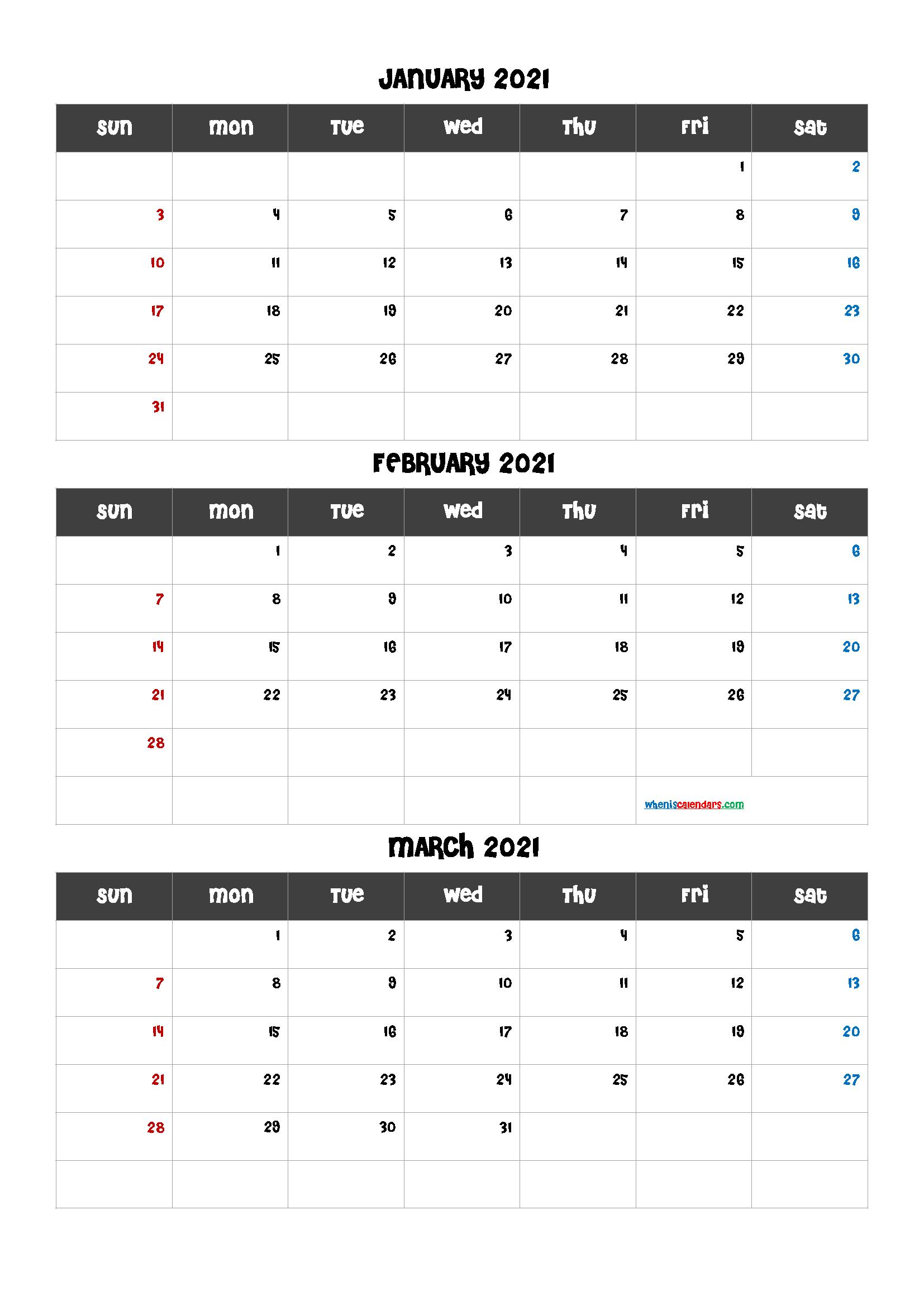 January February March 2021 Calendar Template
