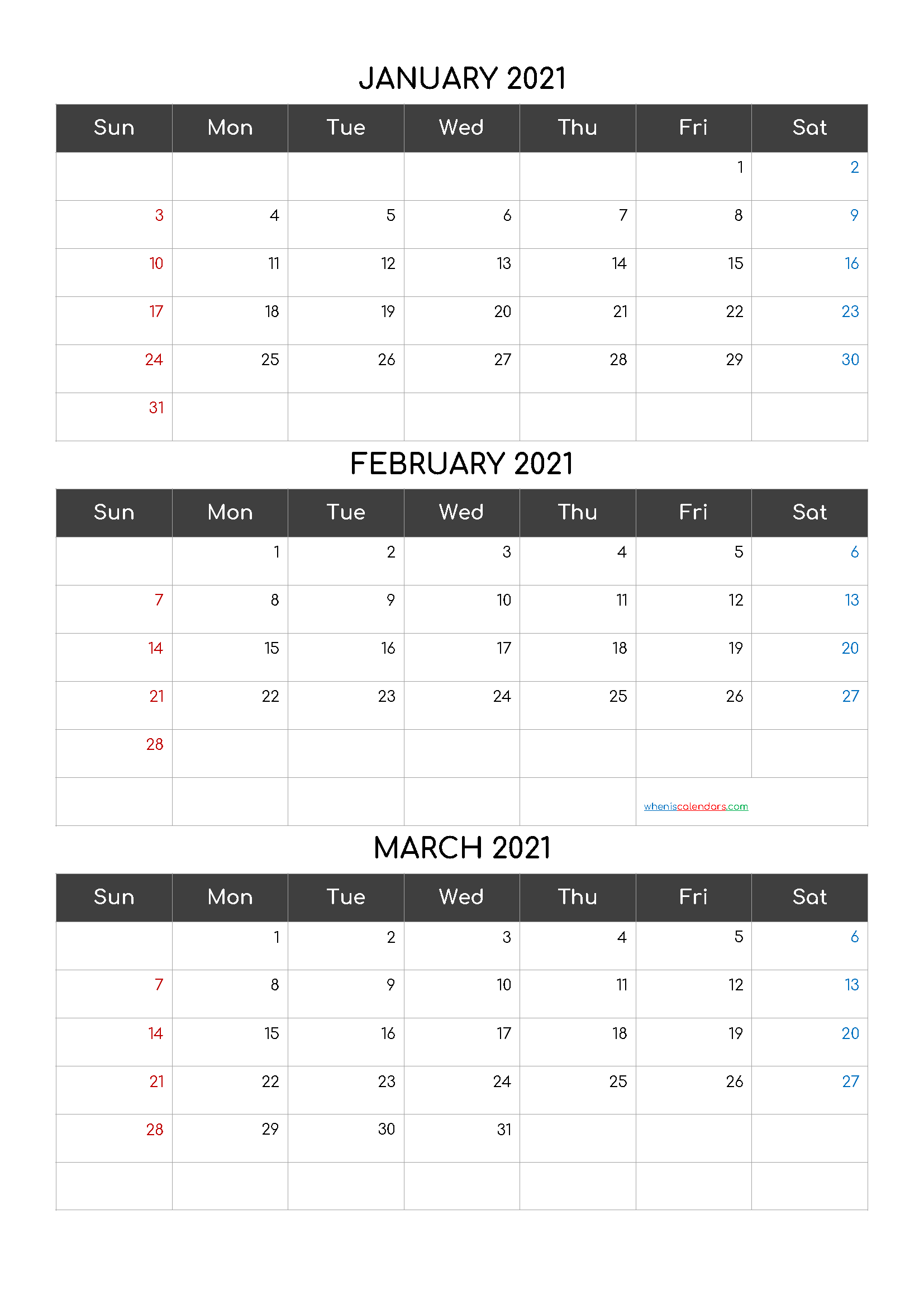 Free Calendar January February March 2021