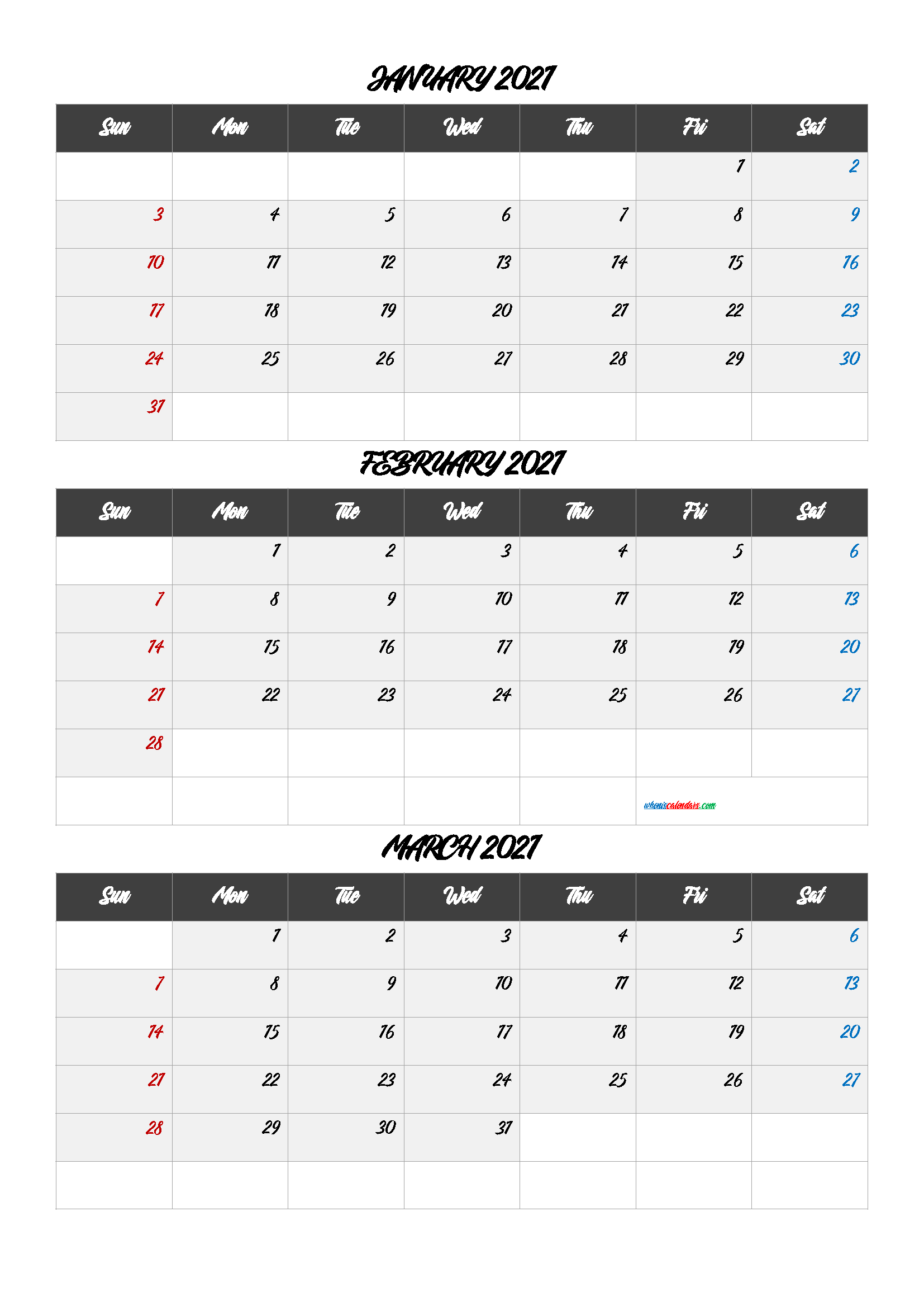 Free Calendar January February March 2021