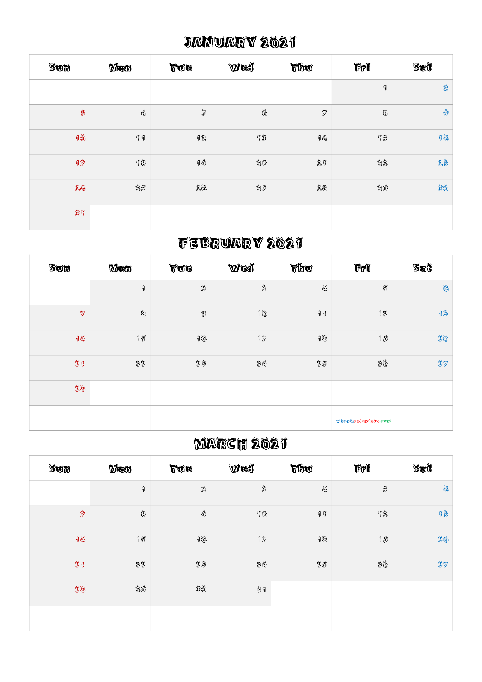 Free January February March 2021 Calendar