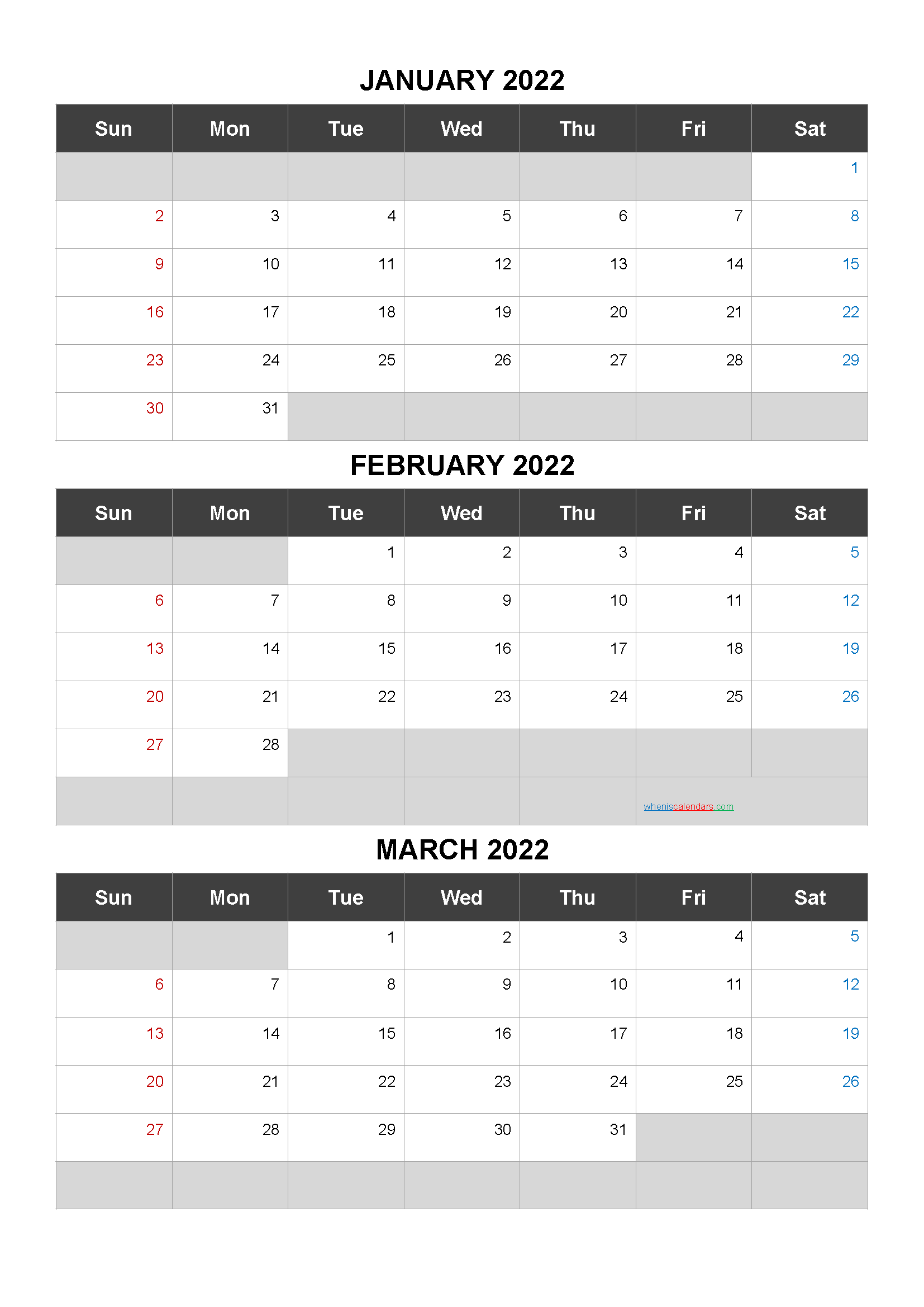 Printable Calendar January February March 2022
