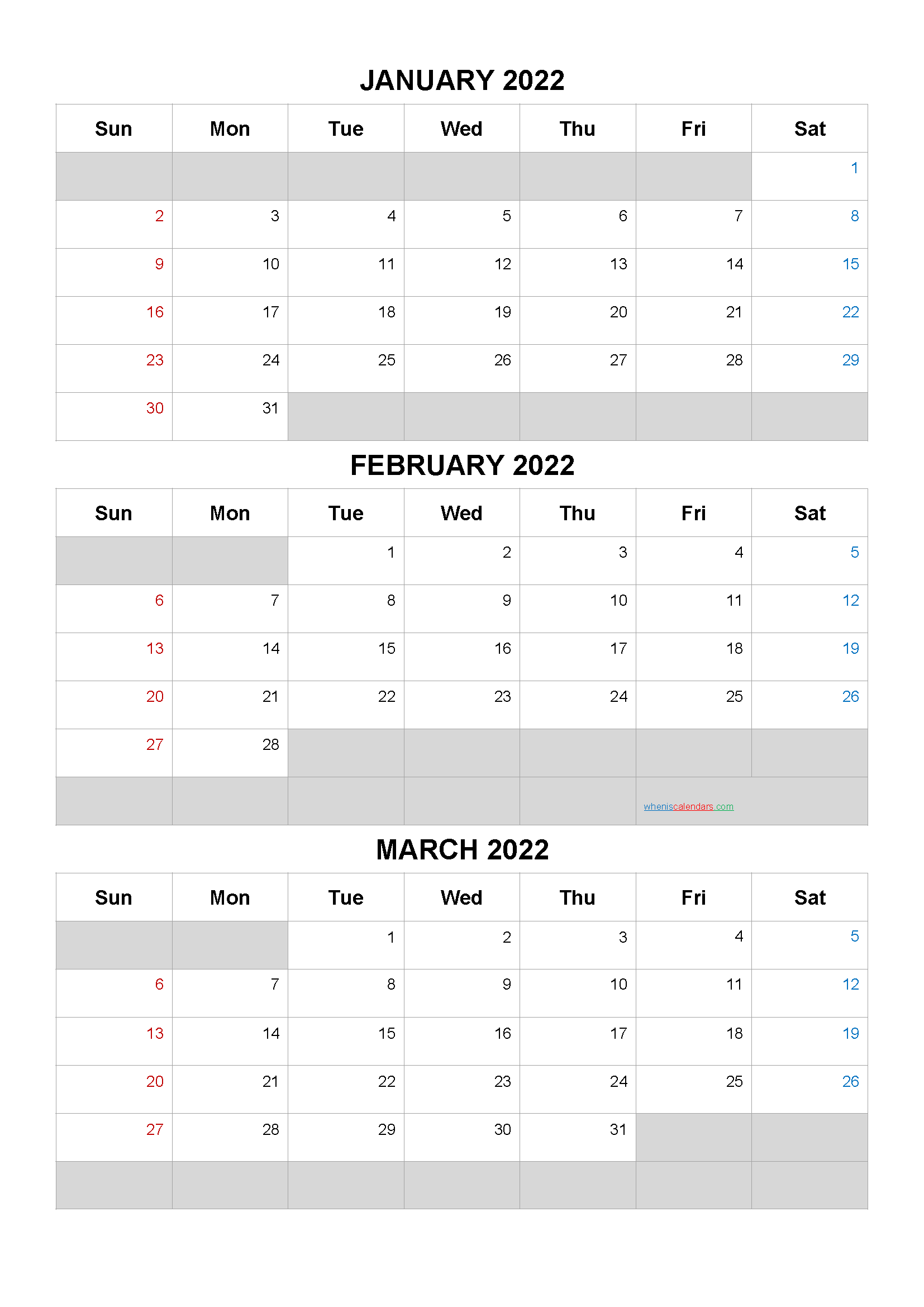 January February March 2022 Free Printable 3 Month Calendar