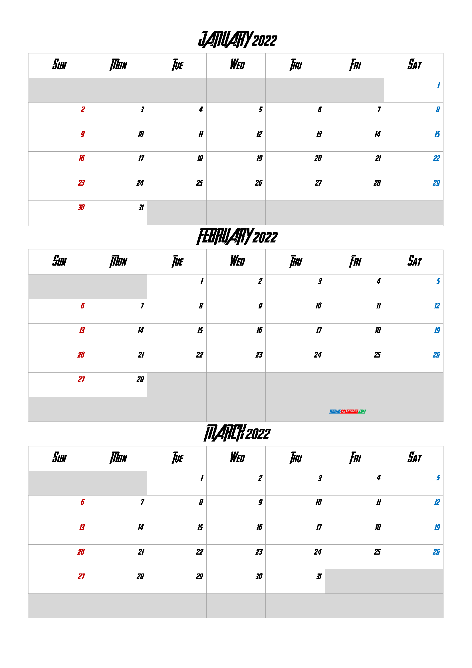 January February March 2022 Calendar Printable