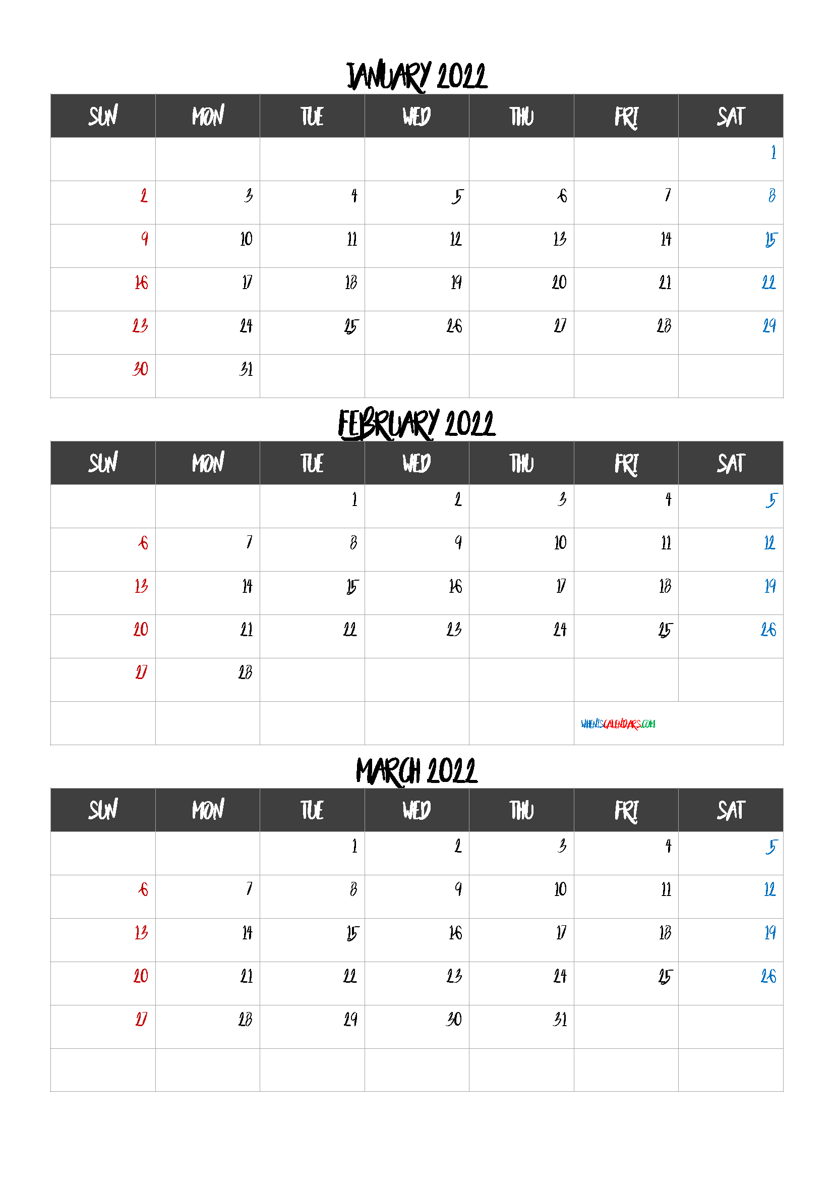 January February March 2022 Calendar Printable