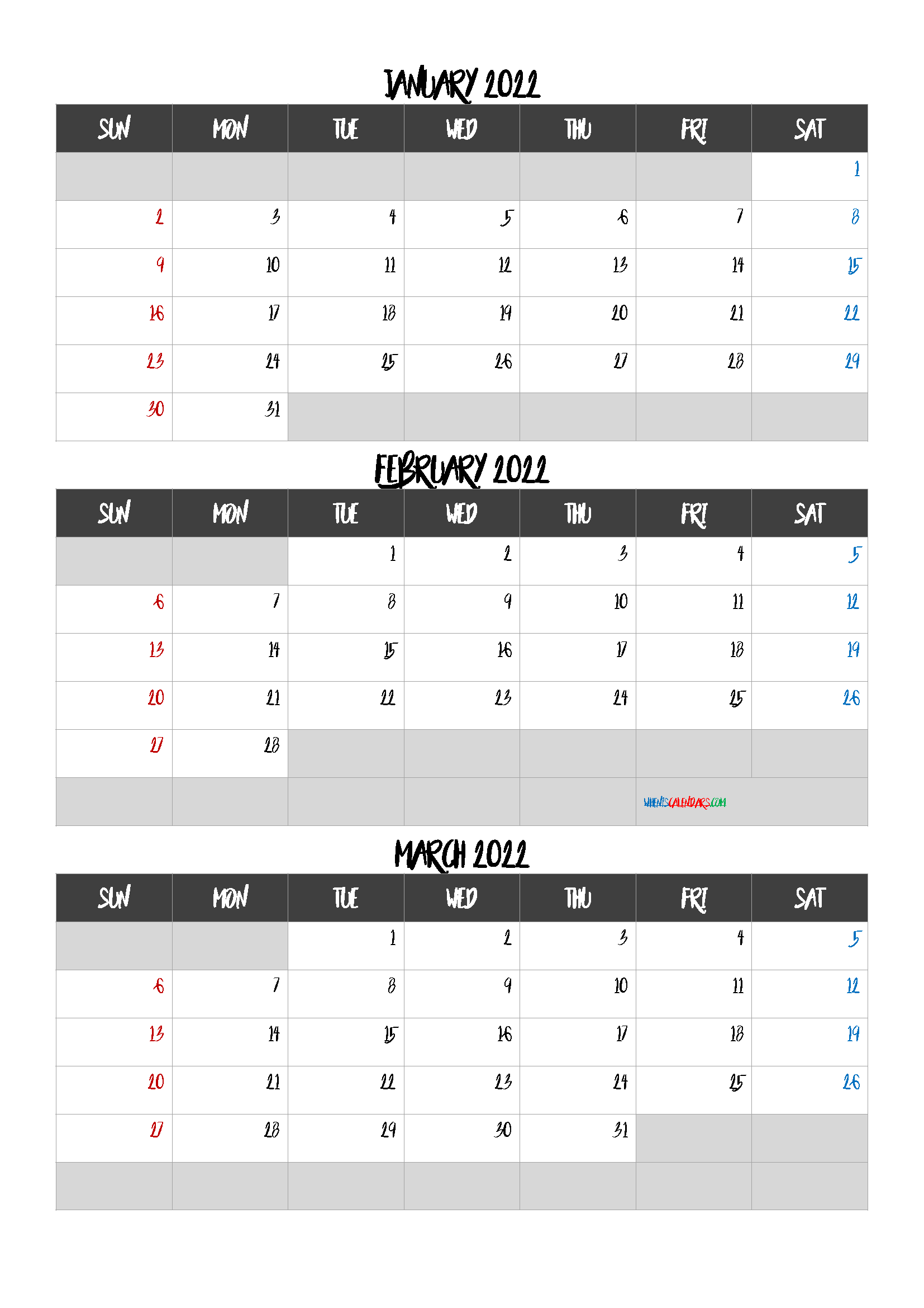 January February March 2022 Calendar Free Download